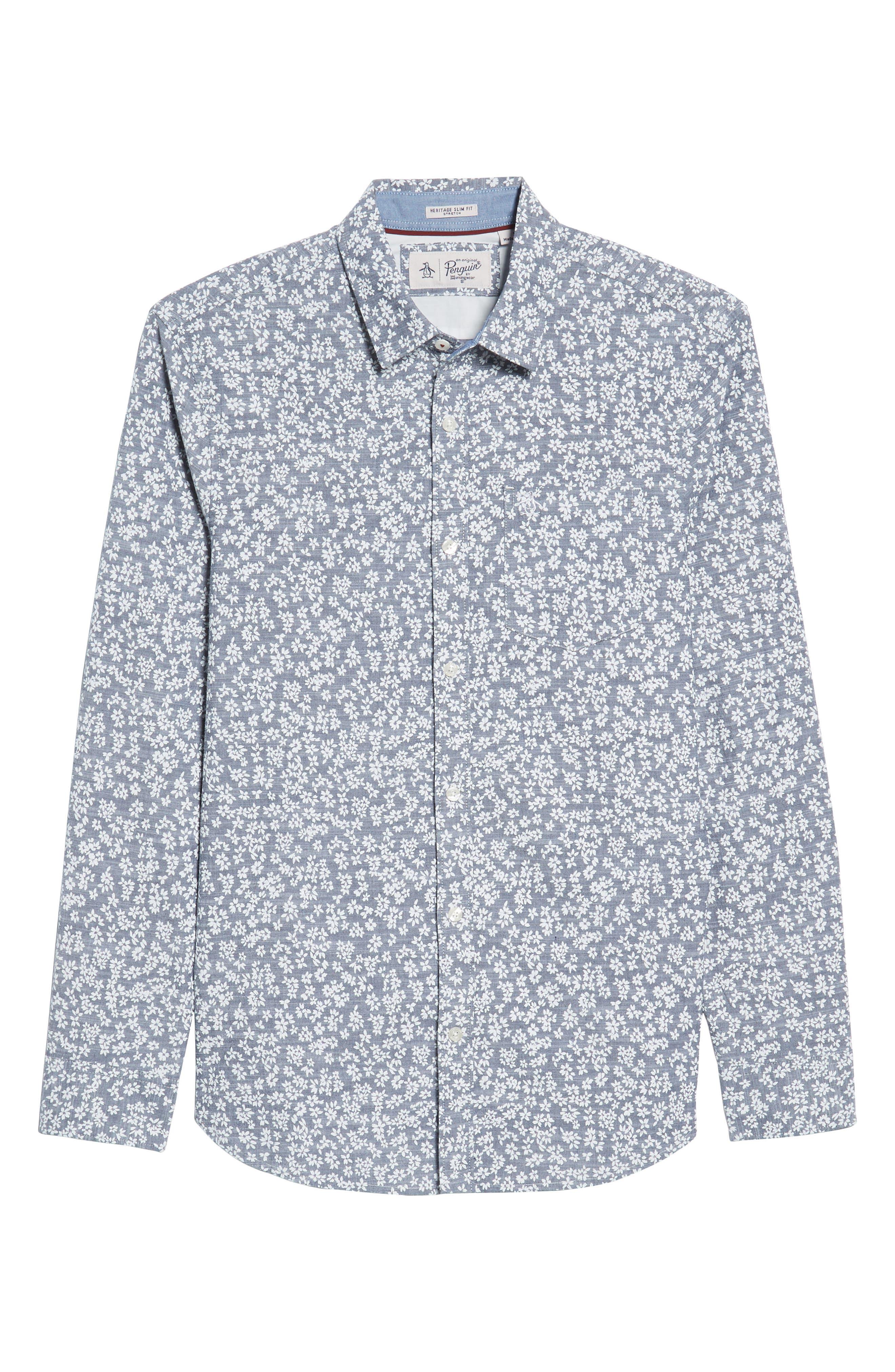 Floral Chambray Shirt,                             Alternate thumbnail 6, color,