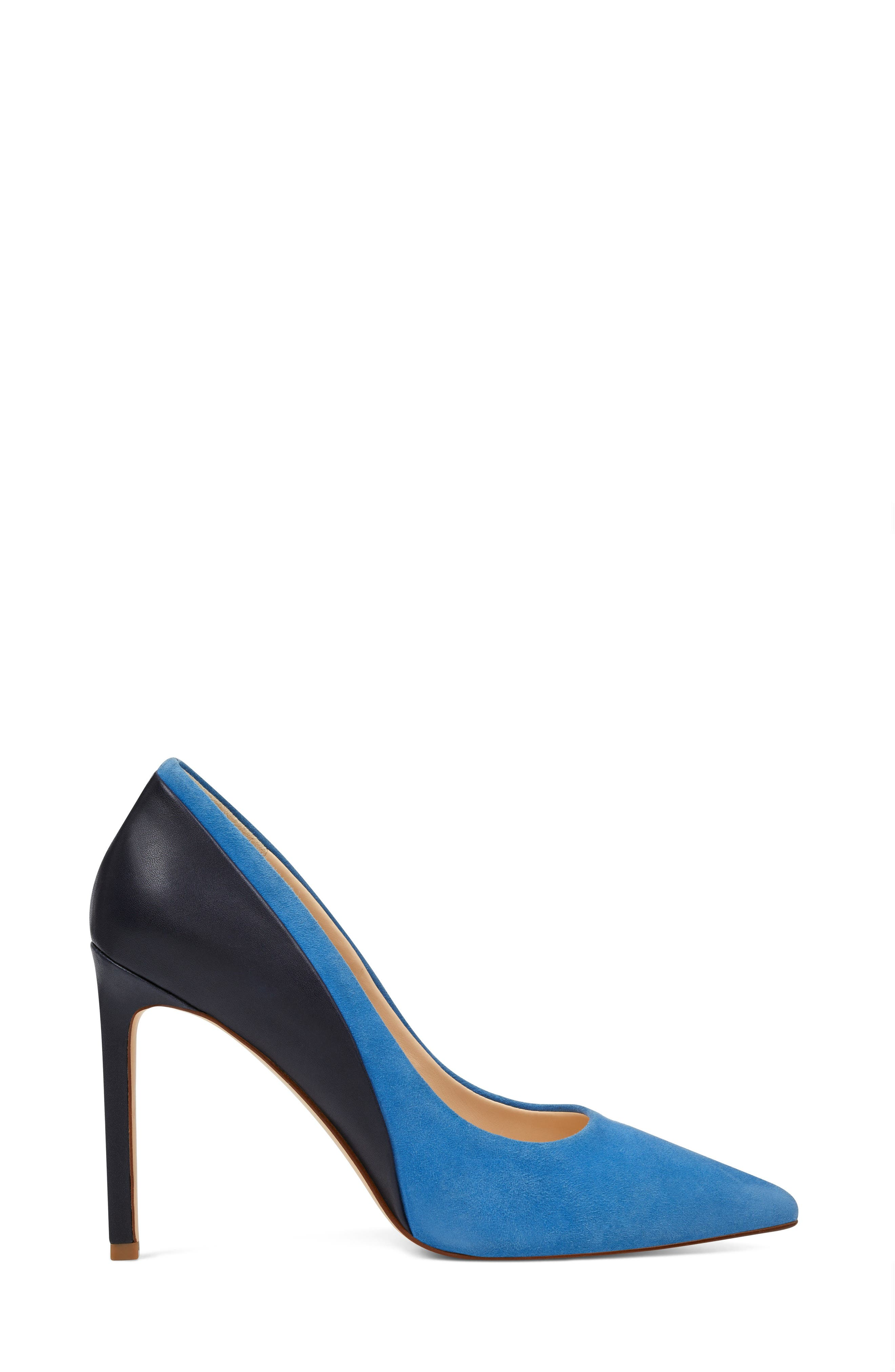 Taymra Pointy Toe Pump,                             Alternate thumbnail 3, color,                             BLUE/ NAVY SUEDE
