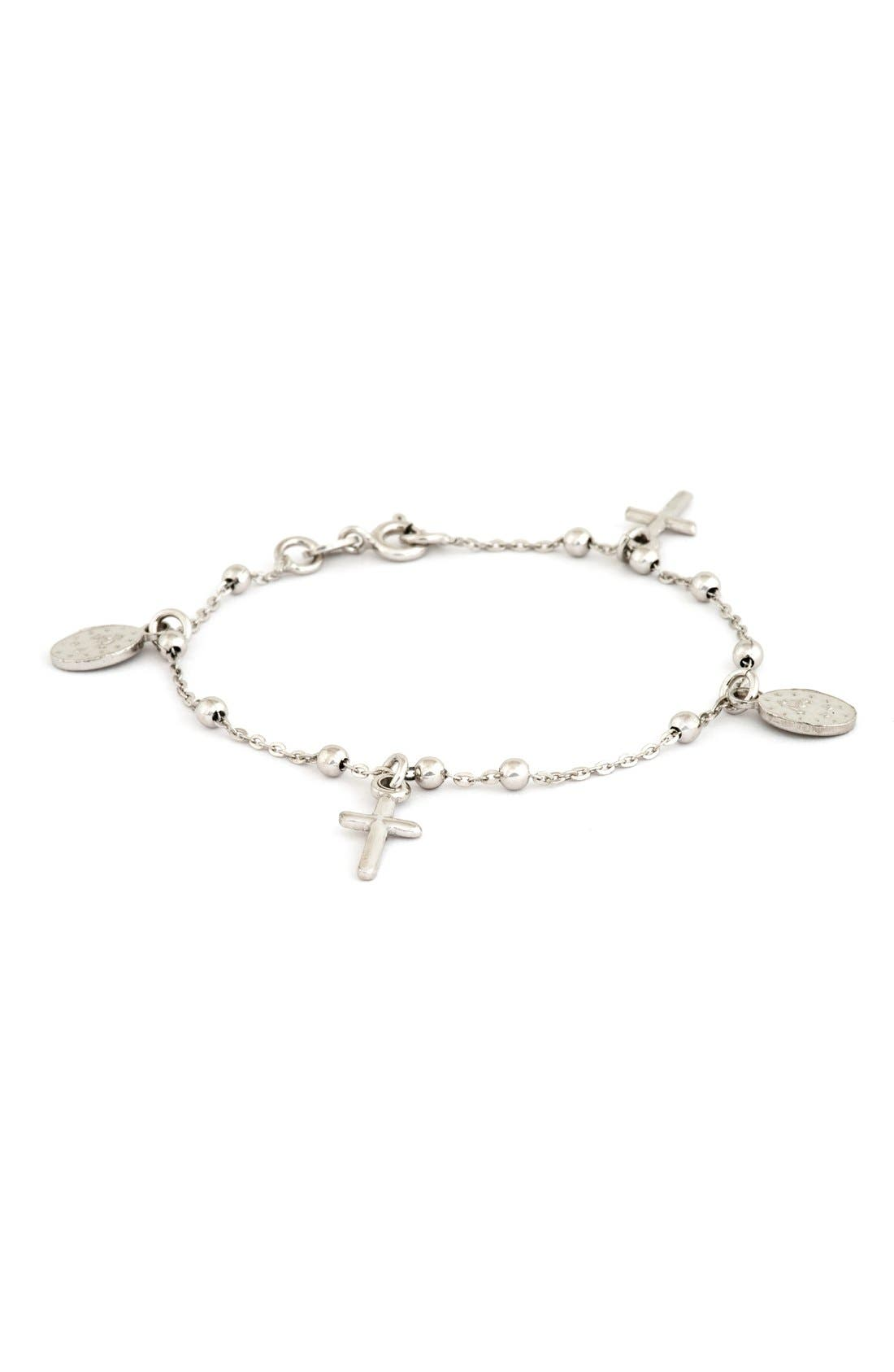 Cross & Miraculous Medal Sterling Silver Charm Bracelet,                             Main thumbnail 1, color,                             NONE