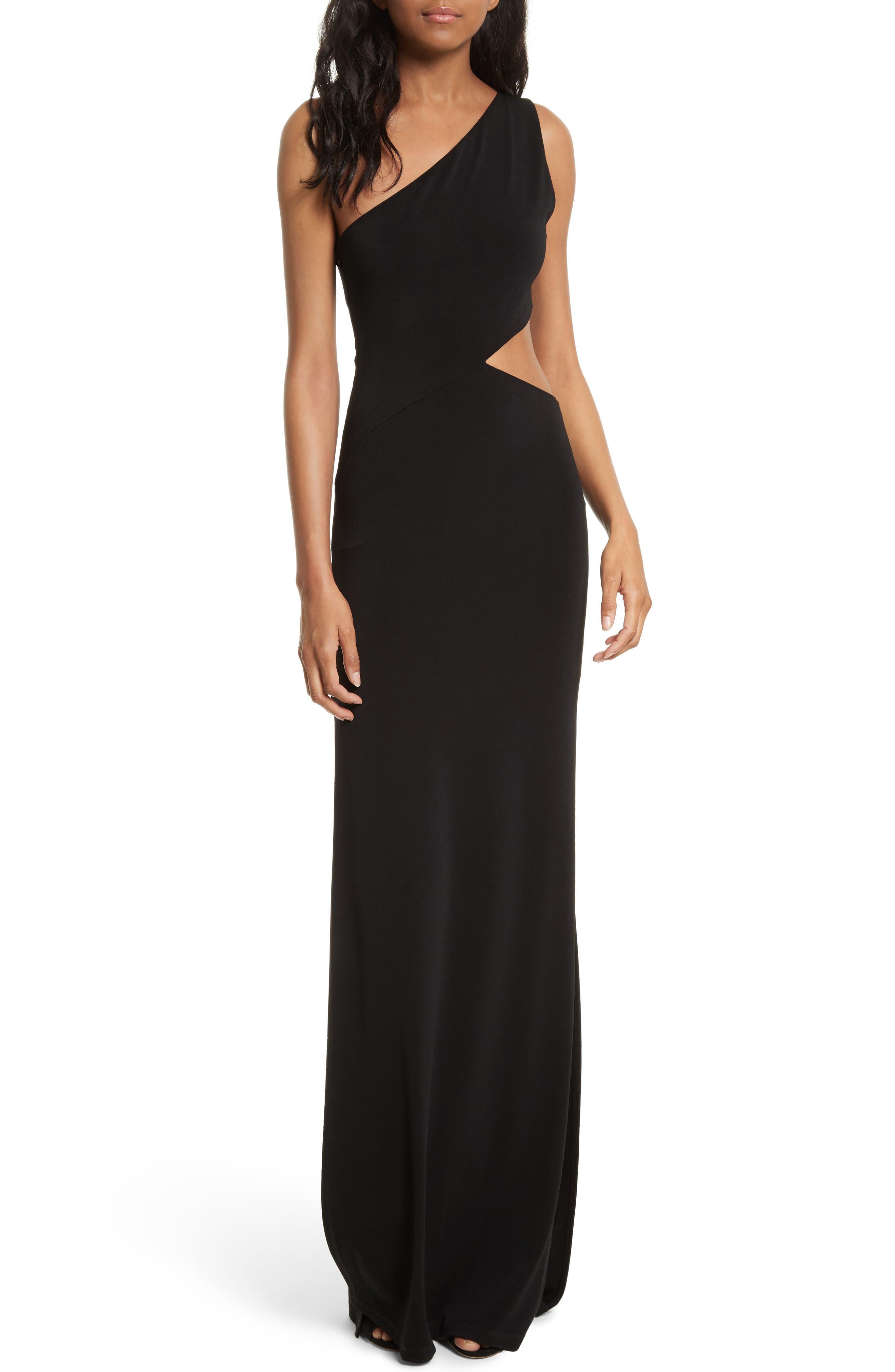 Malia Cutout One-Shoulder Maxi Dress,                         Main,                         color, 001