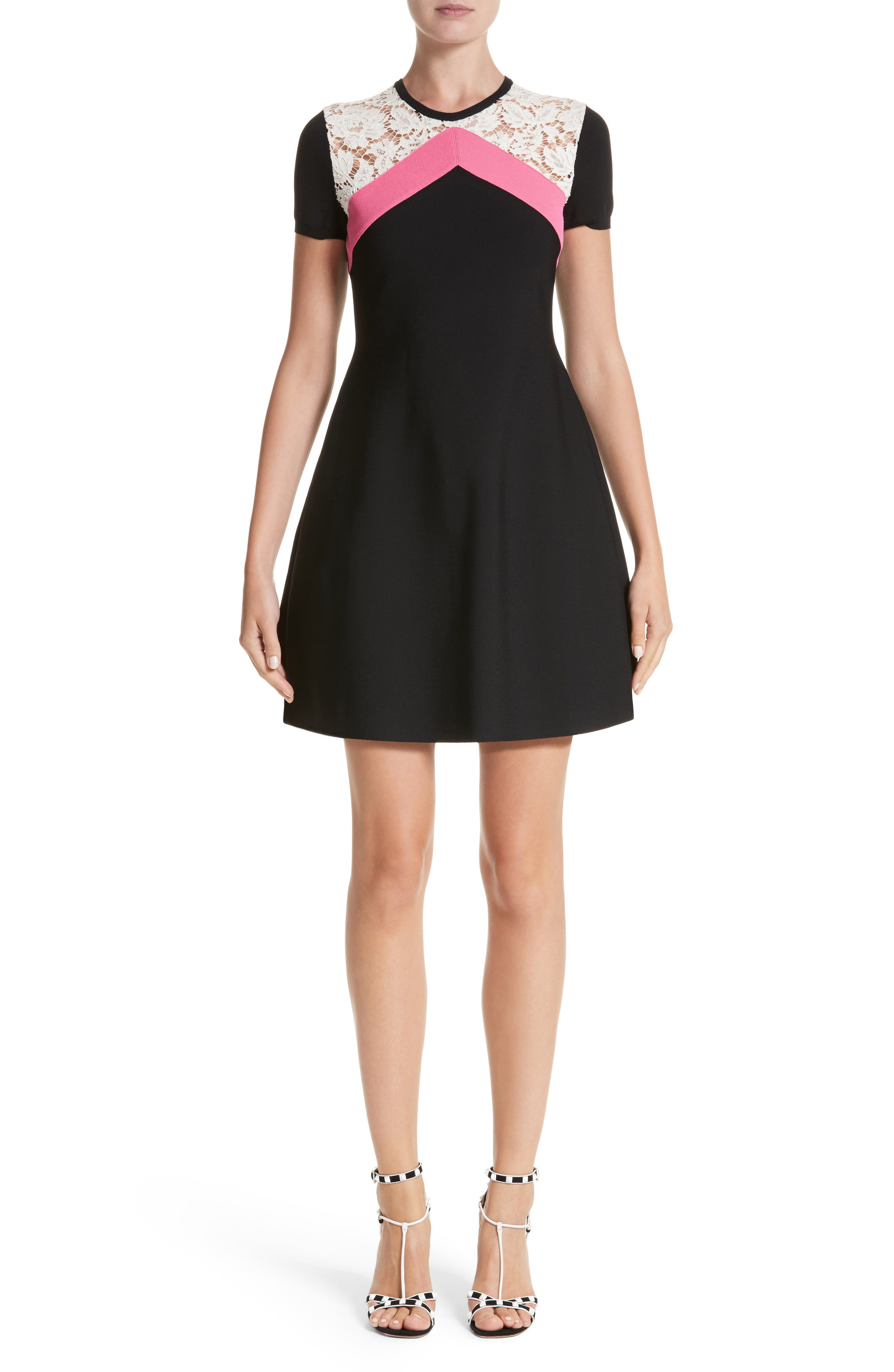 Chevron Lace Knit Dress,                             Main thumbnail 1, color,                             001