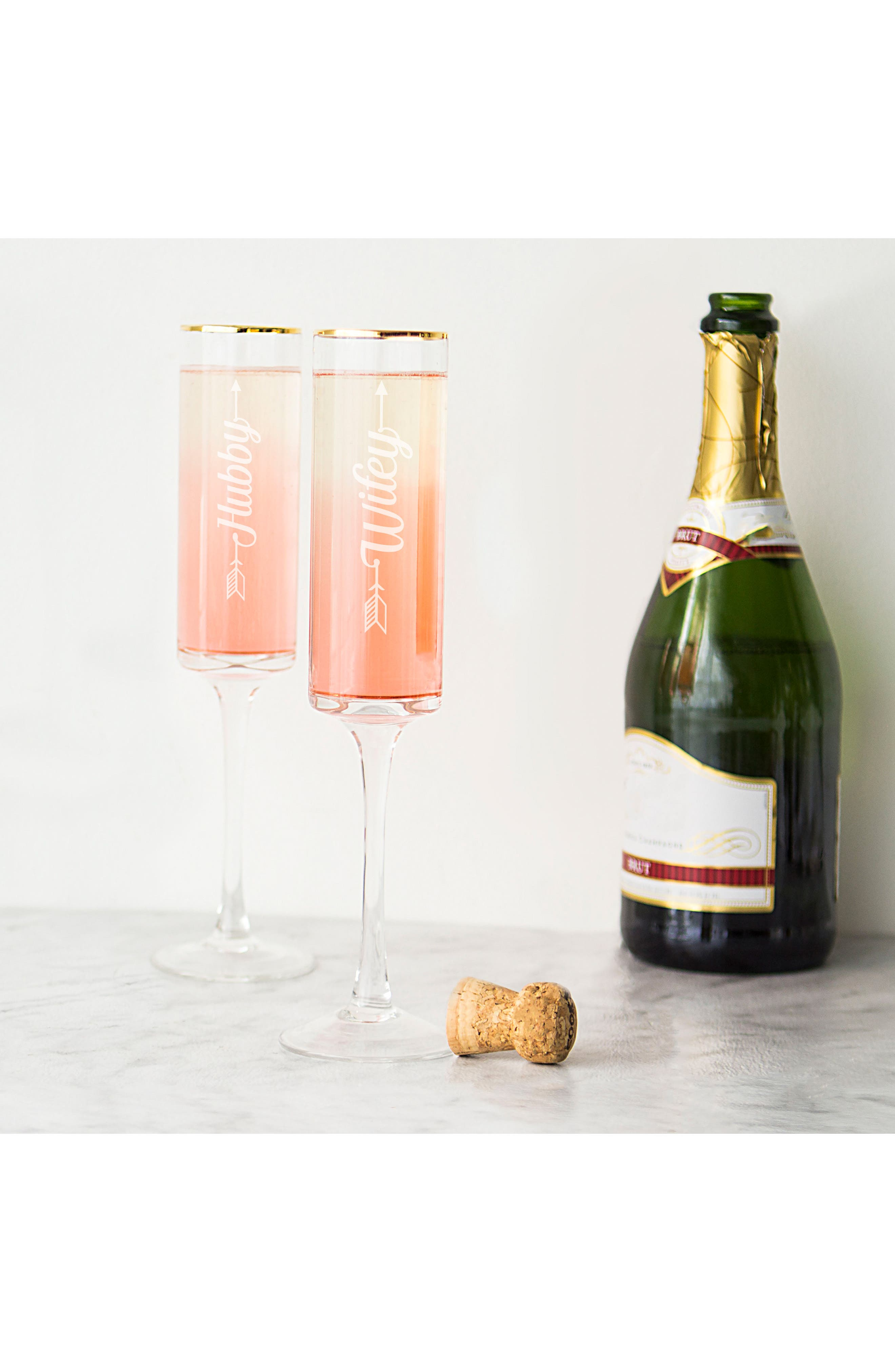 Hubby/Wifey Set of 2 Champagne Flutes,                             Alternate thumbnail 4, color,                             710