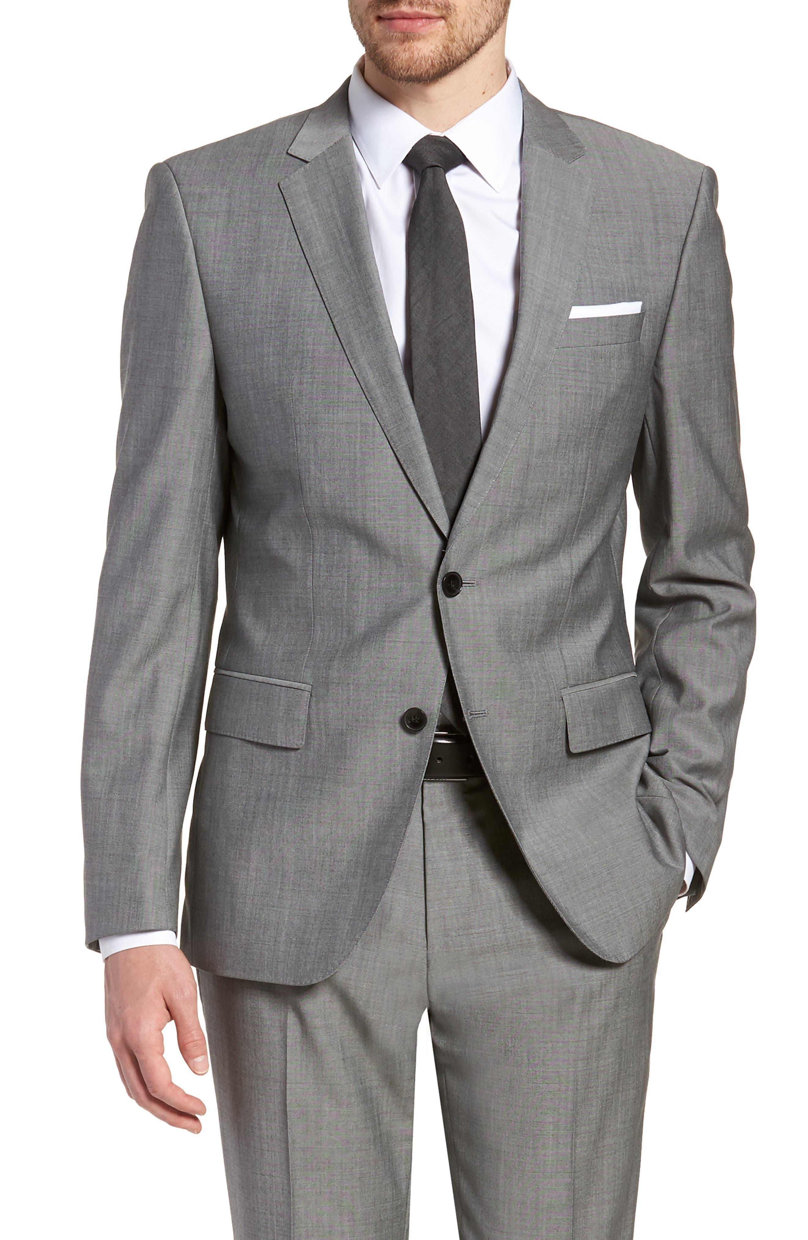 'Huge/Genius' Trim Fit Solid Wool Suit,                             Alternate thumbnail 5, color,                             PEARL GREY