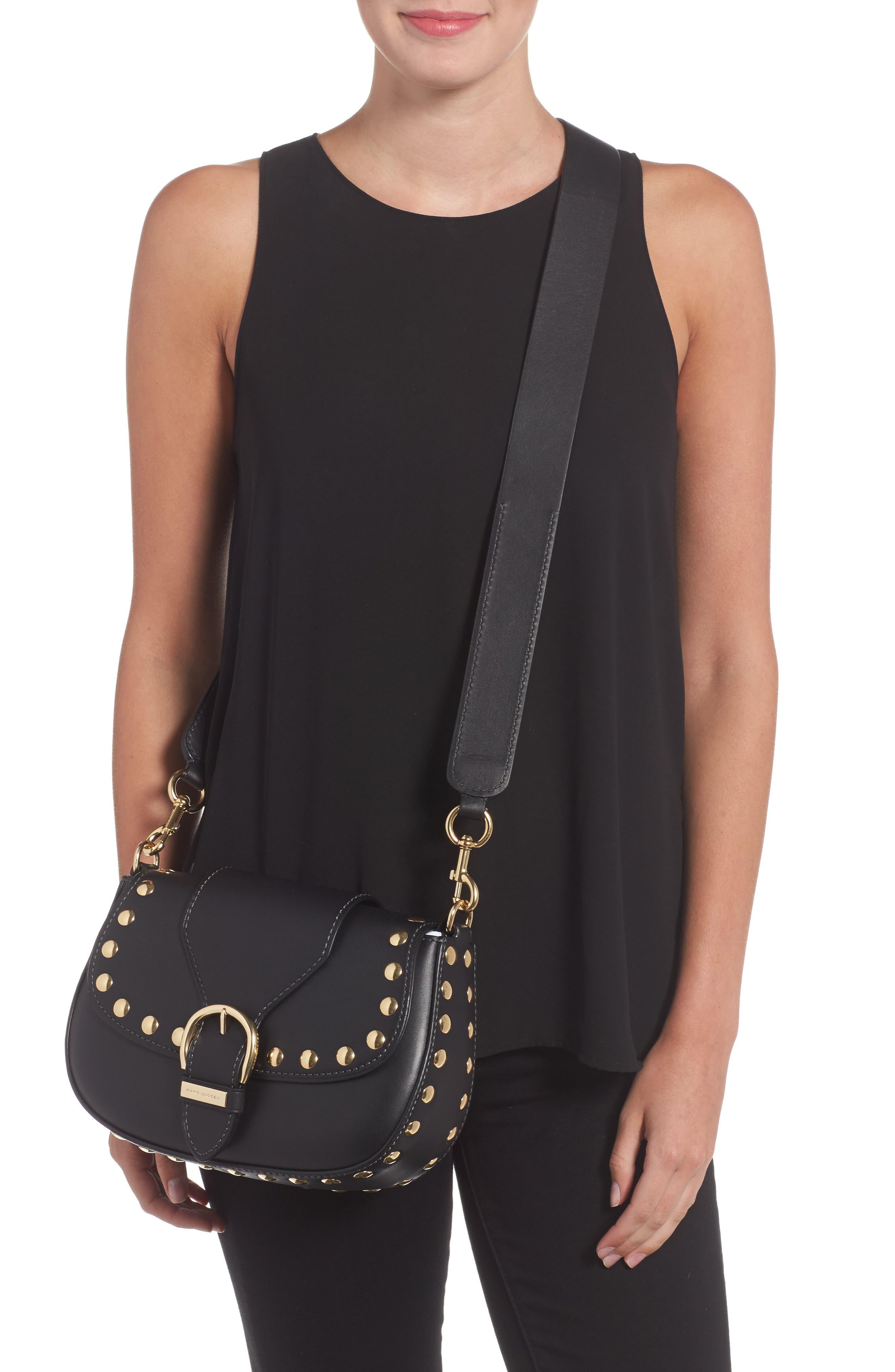 Studded Navigator Leather Crossbody Bag,                             Alternate thumbnail 2, color,                             001