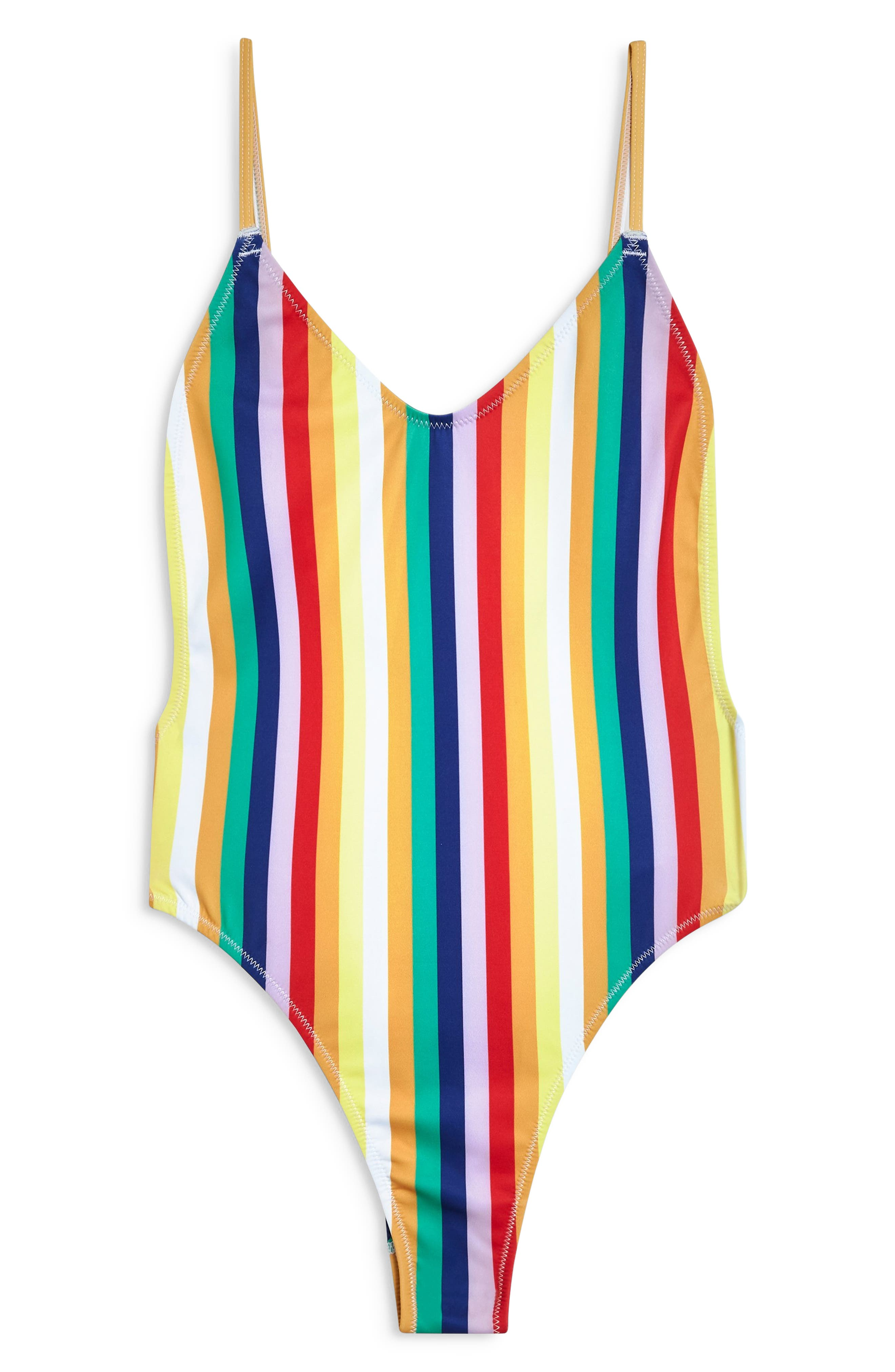 Stripe Plunge One-Piece Swimsuit,                             Alternate thumbnail 4, color,                             YELLOW MULTI