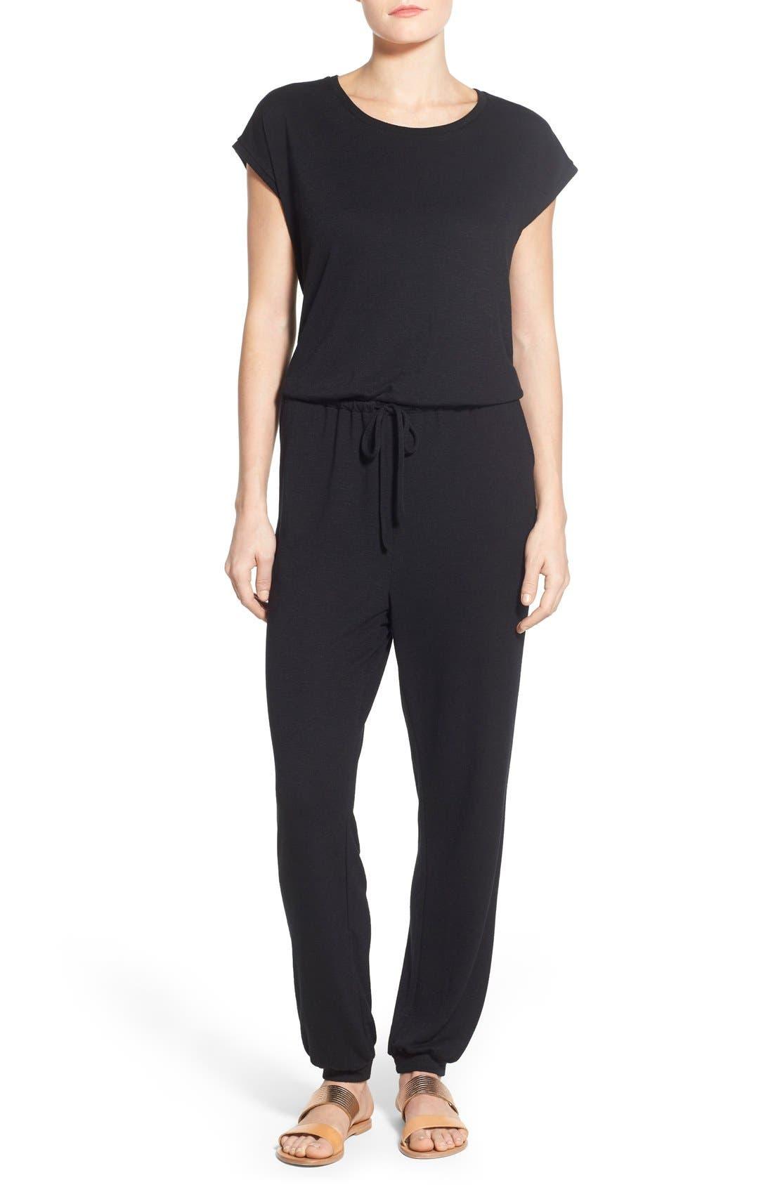 Knit Blouson Jumpsuit, Main, color, 001