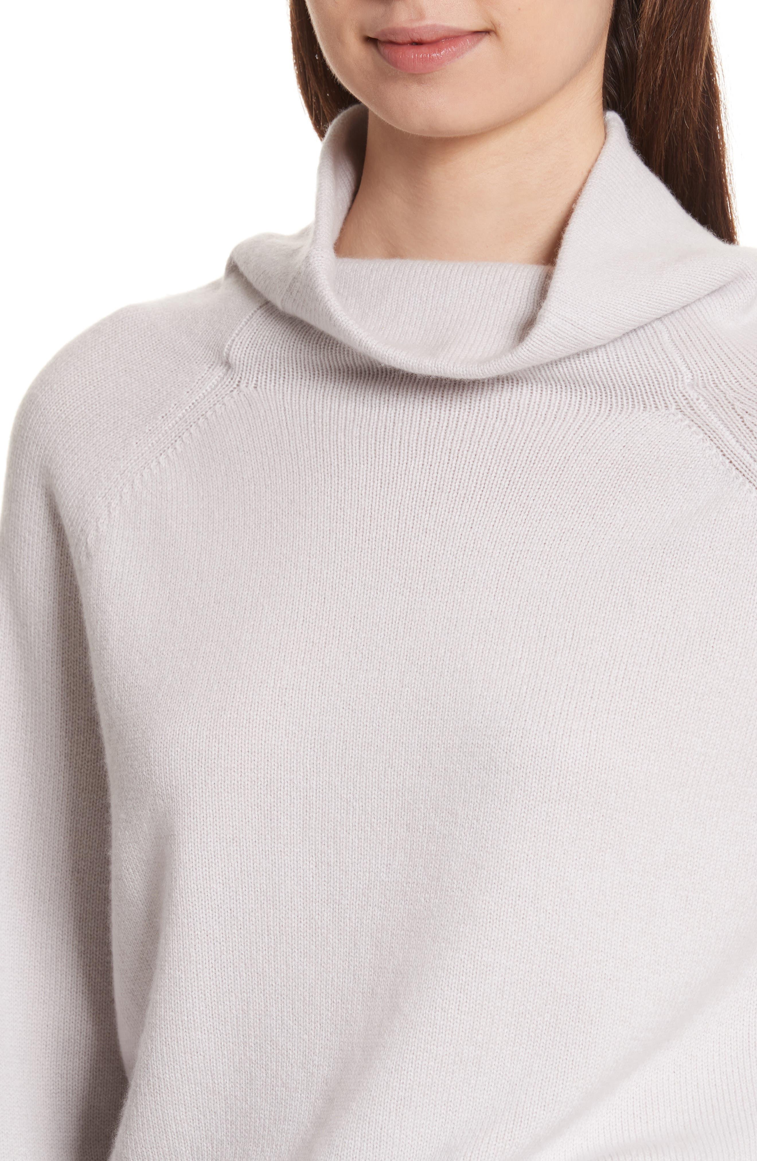 Balloon Sleeve Cashmere Turtleneck Sweater,                             Alternate thumbnail 4, color,                             020