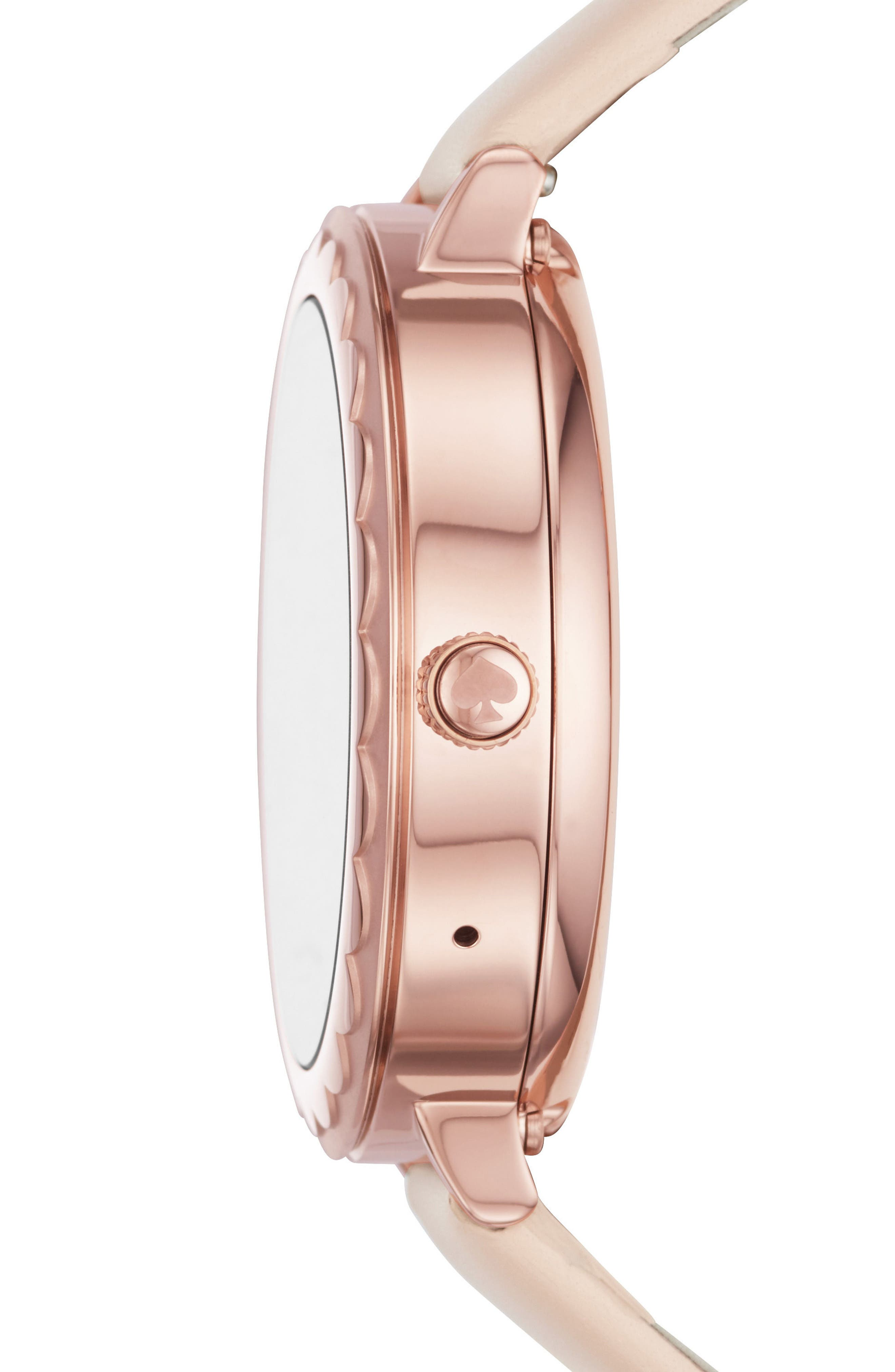 scallop leather strap touchscreen smart watch, 42mm,                             Alternate thumbnail 3, color,                             BEIGE/ PINK