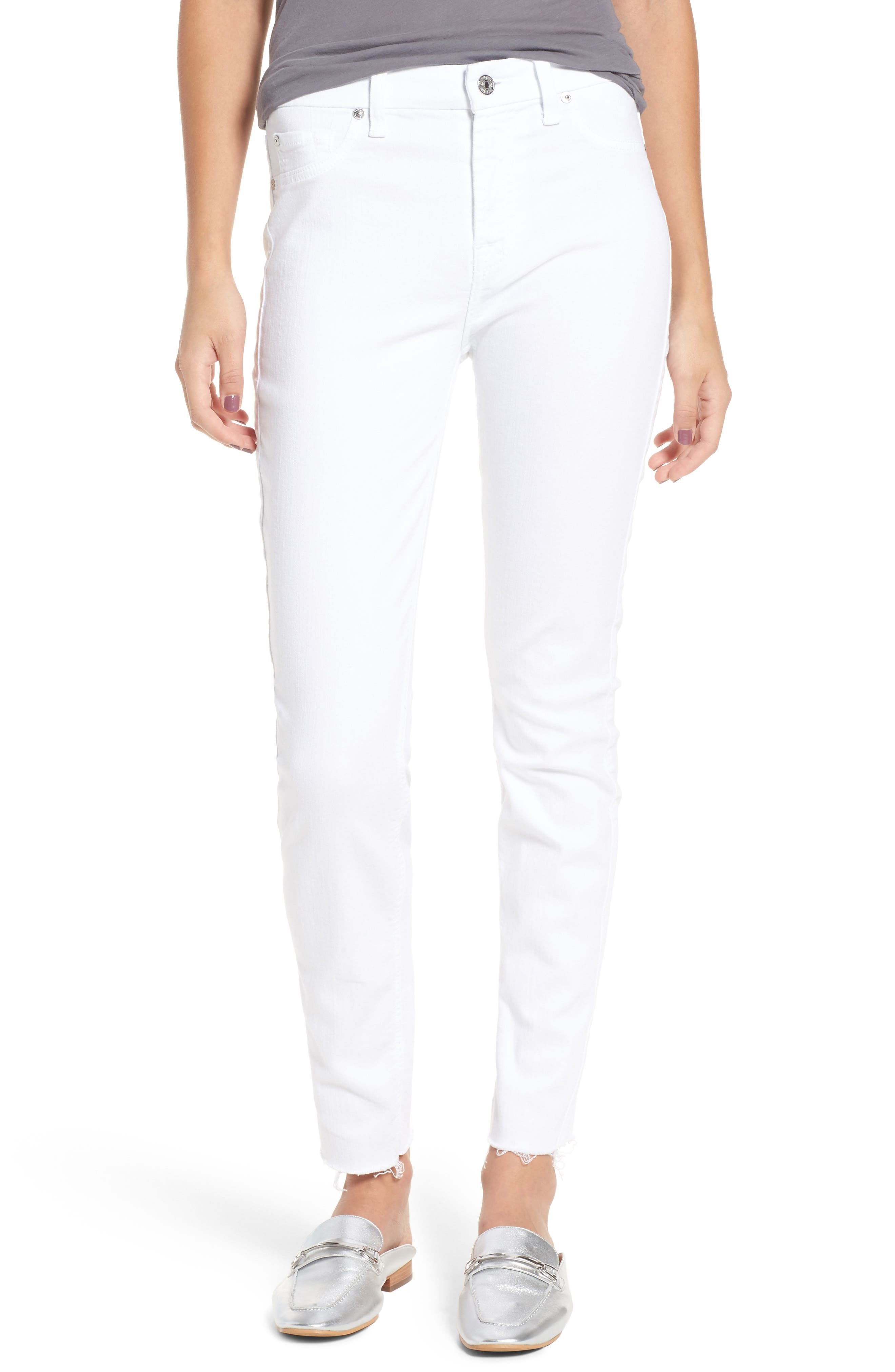 Raw Hem Skinny Jeans,                             Main thumbnail 1, color,                             CLEAN WHITE EXCLUSIVE