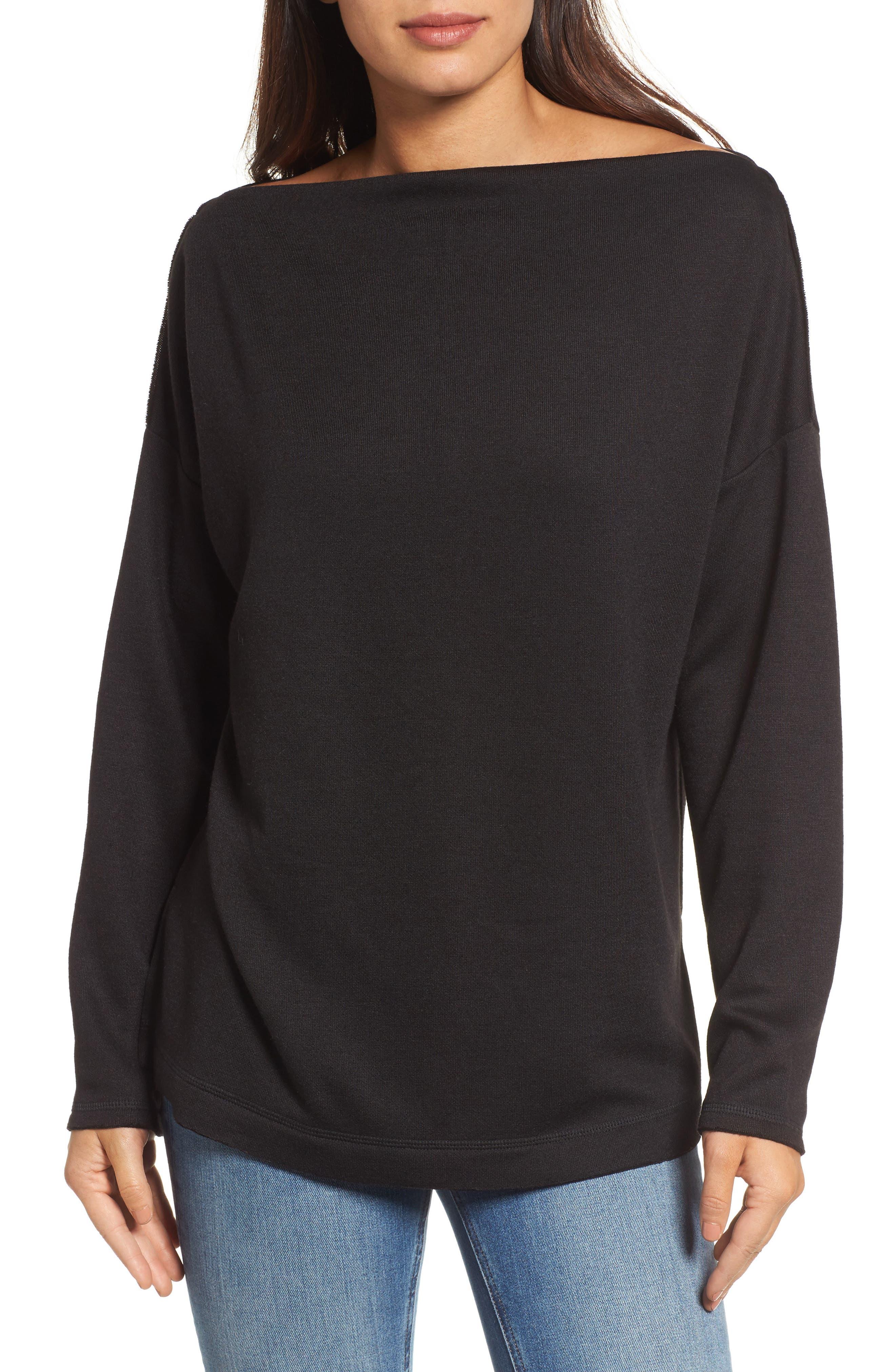 Bateau Neck Knit Tunic,                             Main thumbnail 1, color,                             001