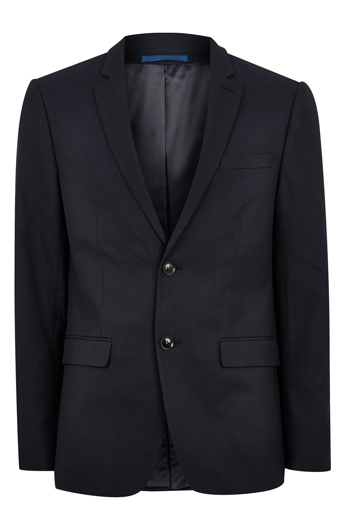 Skinny Fit Textured Suit Jacket,                             Alternate thumbnail 4, color,                             DARK BLUE