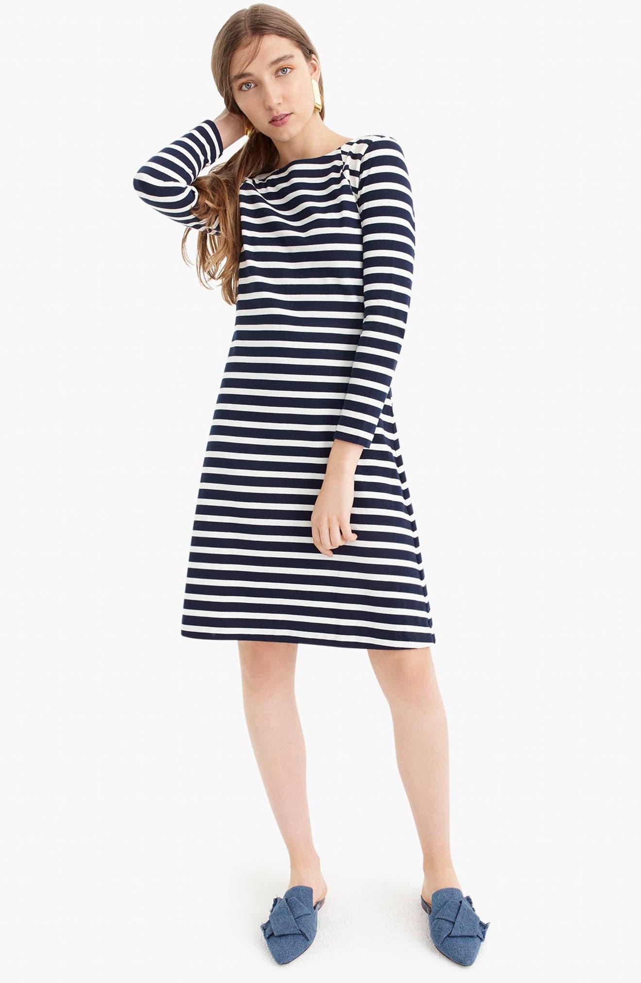 365 Stripe Knit Fit & Flare Dress,                             Alternate thumbnail 7, color,                             400