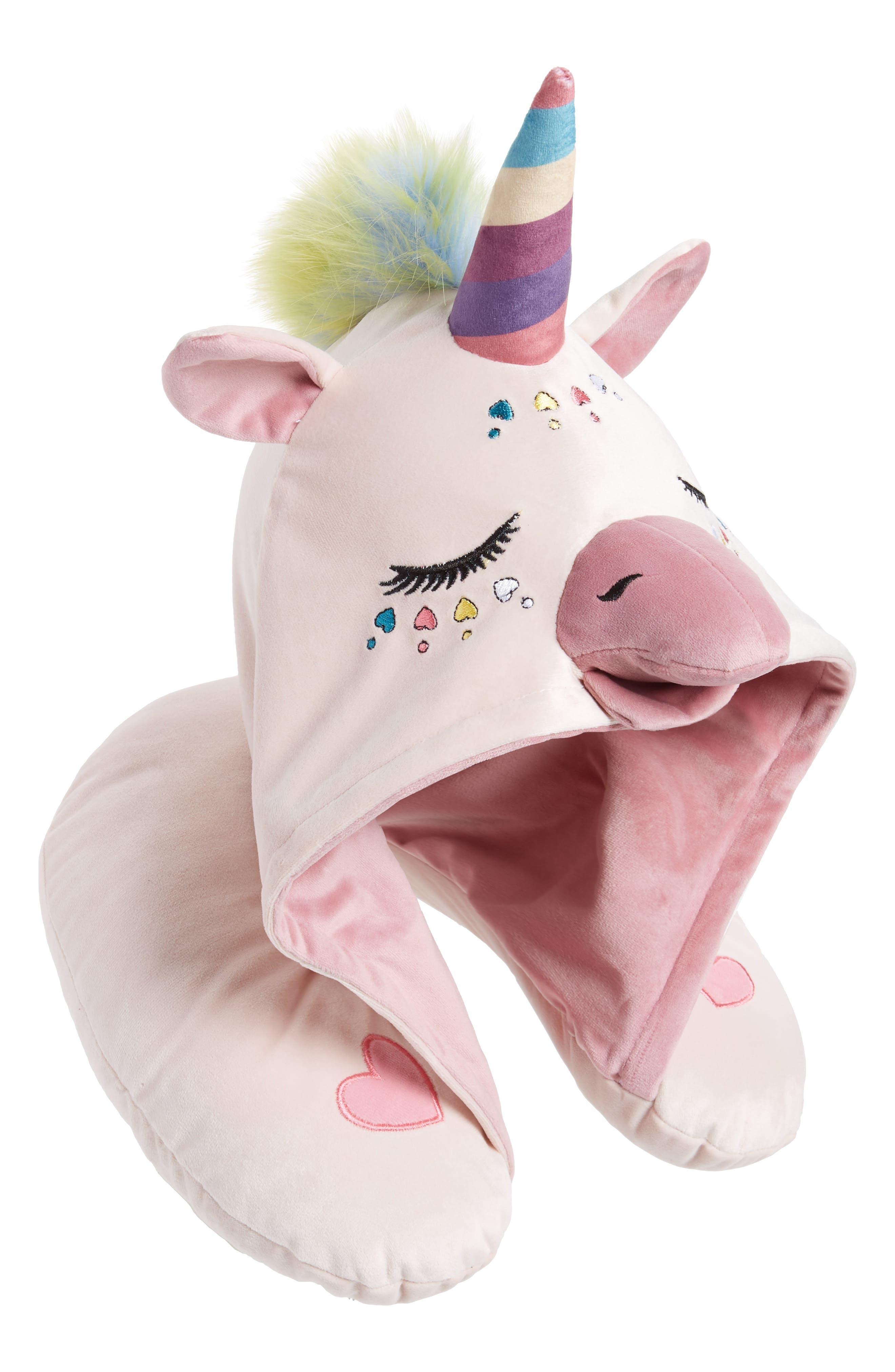 Unicorn Hooded Neck Pillow,                         Main,                         color, BLUSH
