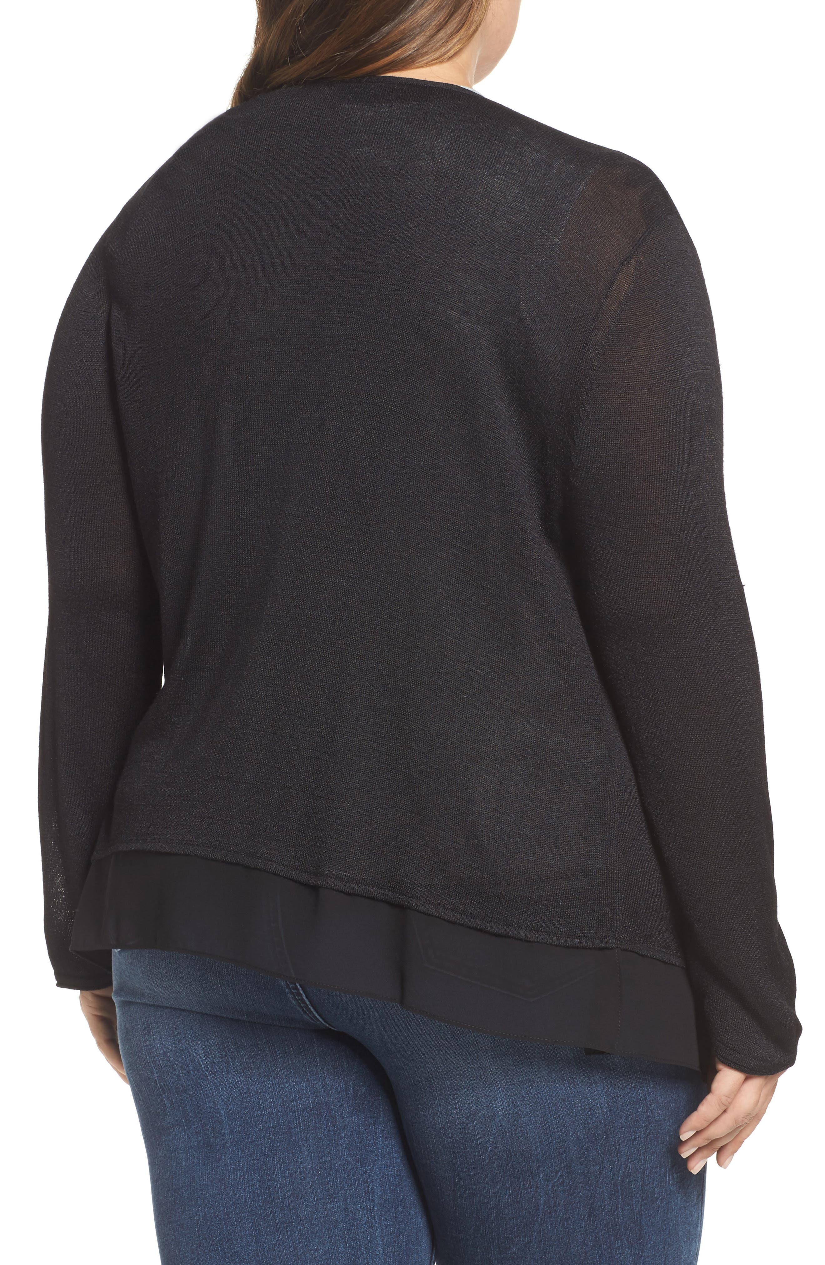 NIC+ZOE,                             Paired Up Silk Blend Cardigan,                             Alternate thumbnail 2, color,                             004