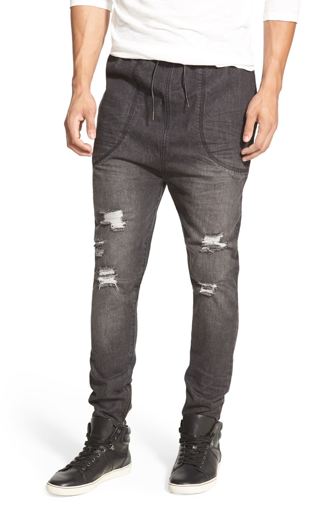 I LOVE UGLY,                             'Zespy' Moto Denim Jogger Pants,                             Main thumbnail 1, color,                             401