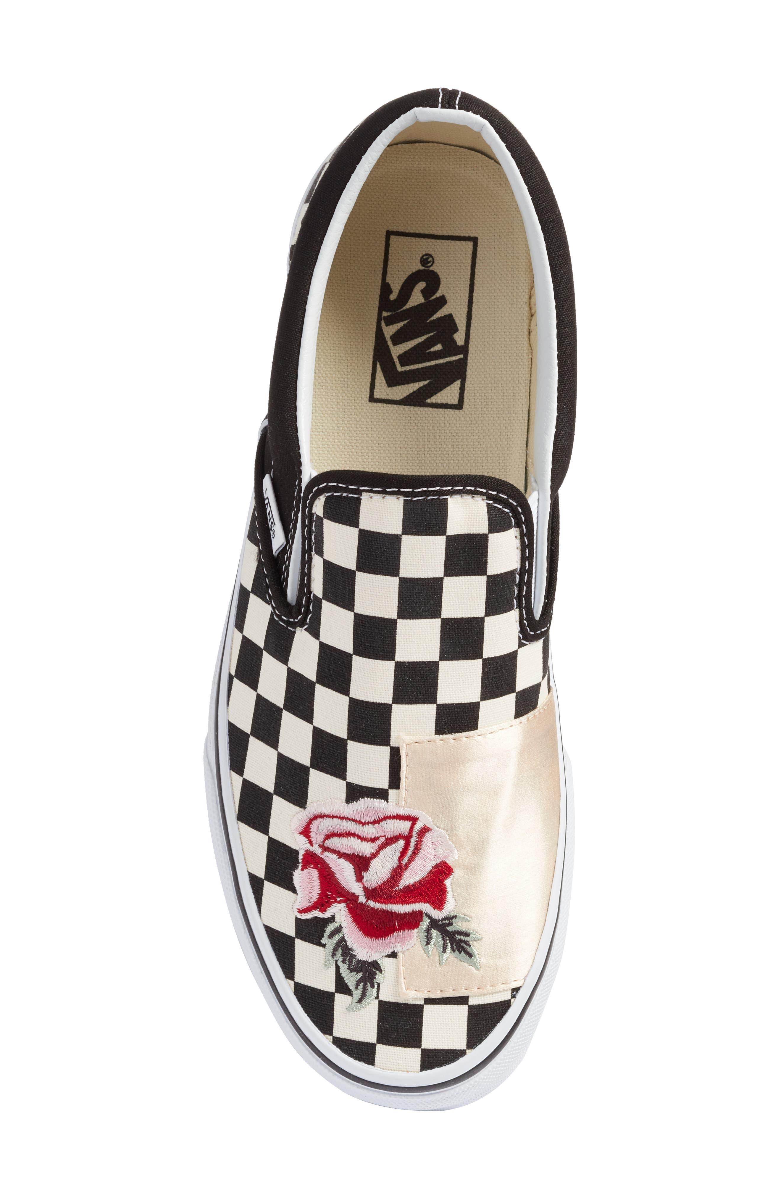 UA Classic Slip-On Sneaker,                             Alternate thumbnail 5, color,                             CHECKER/ ROSE