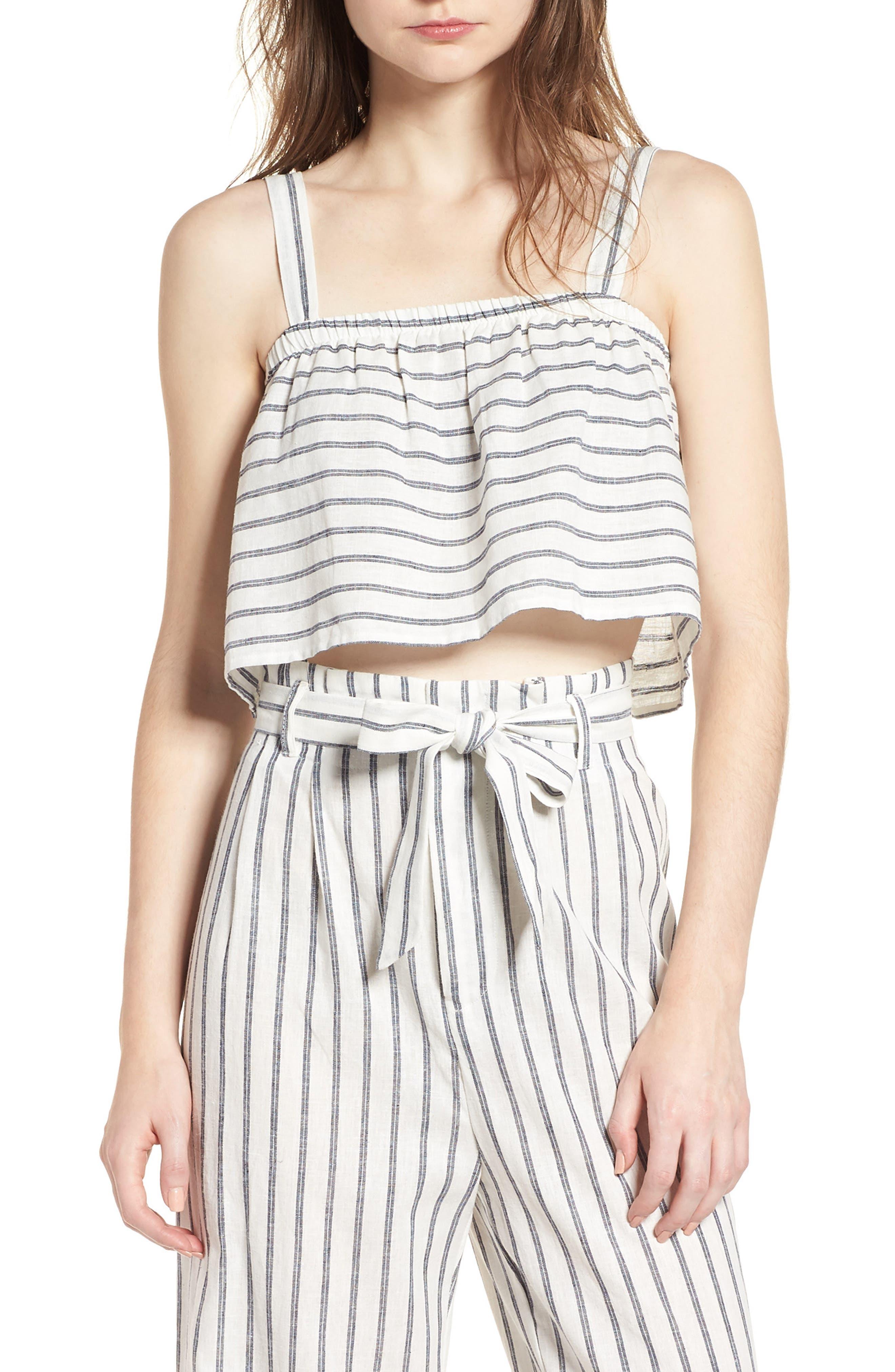 Stripe Linen & Cotton Crop Tank,                             Main thumbnail 1, color,                             904