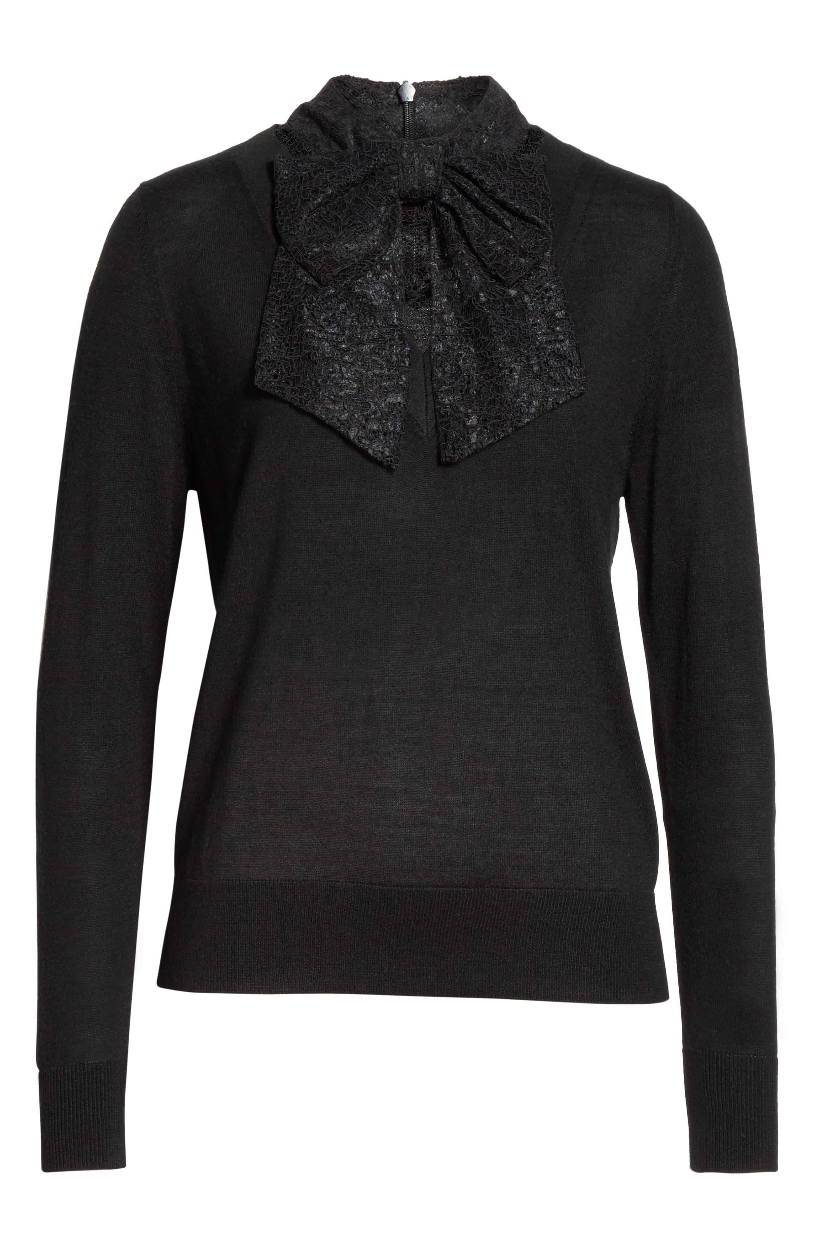 Lace Tie Neck Sweater,                             Alternate thumbnail 6, color,                             001