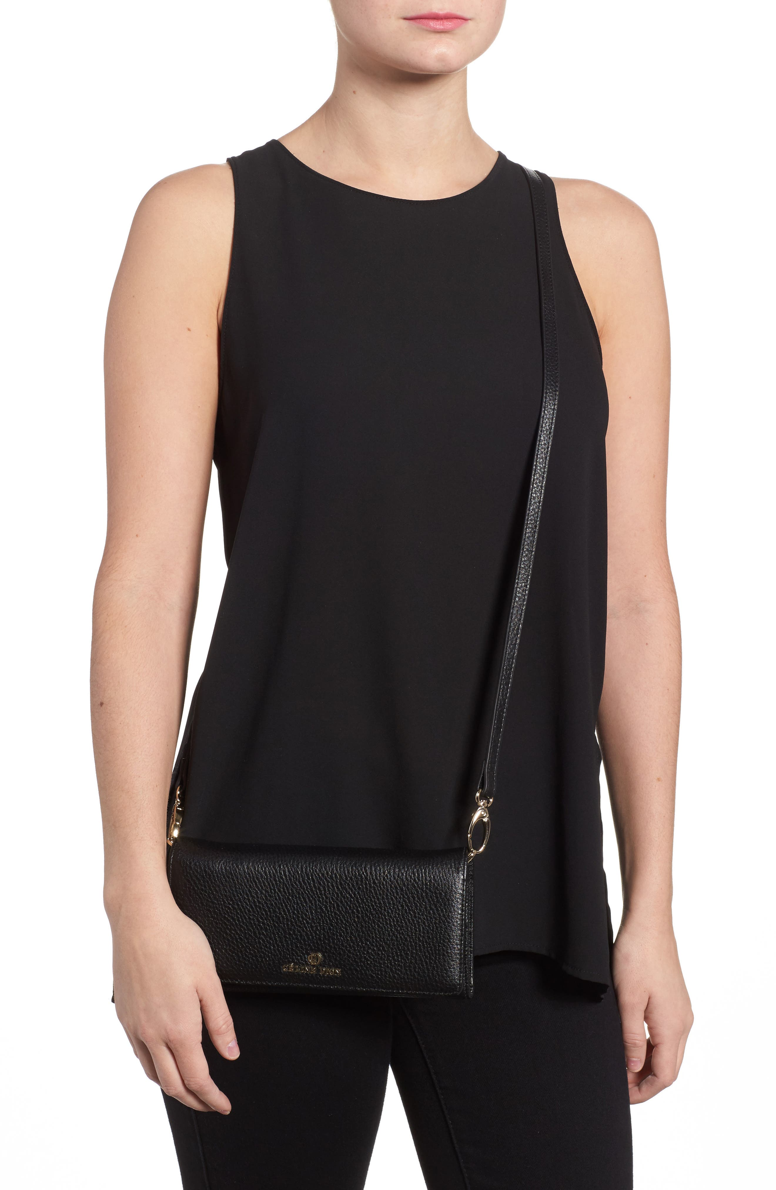 Céline Dion Adagio Leather Crossbody Wallet,                             Alternate thumbnail 2, color,                             001
