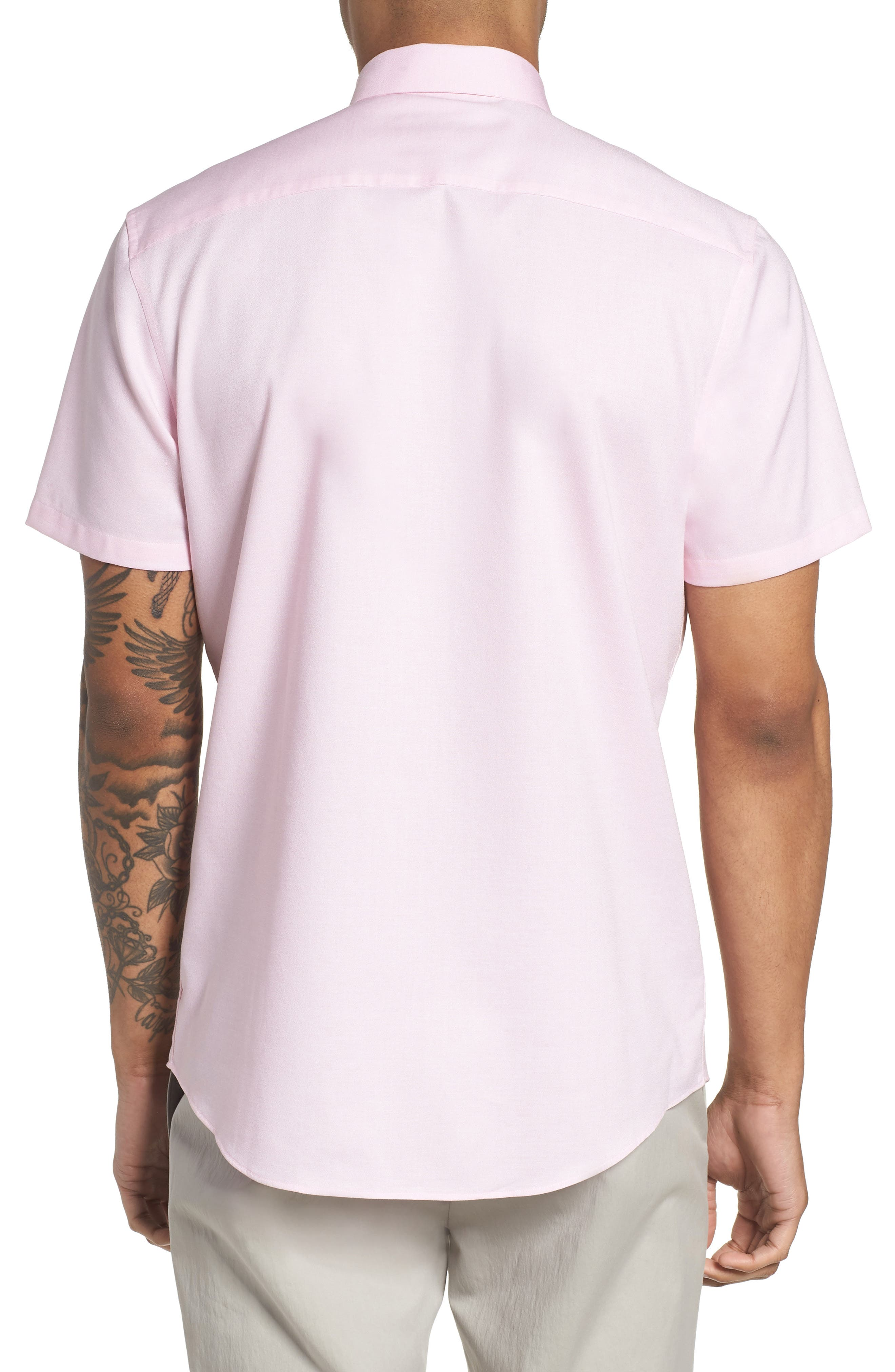 Trim Fit Jaspé Short Sleeve Sport Shirt,                             Alternate thumbnail 6, color,