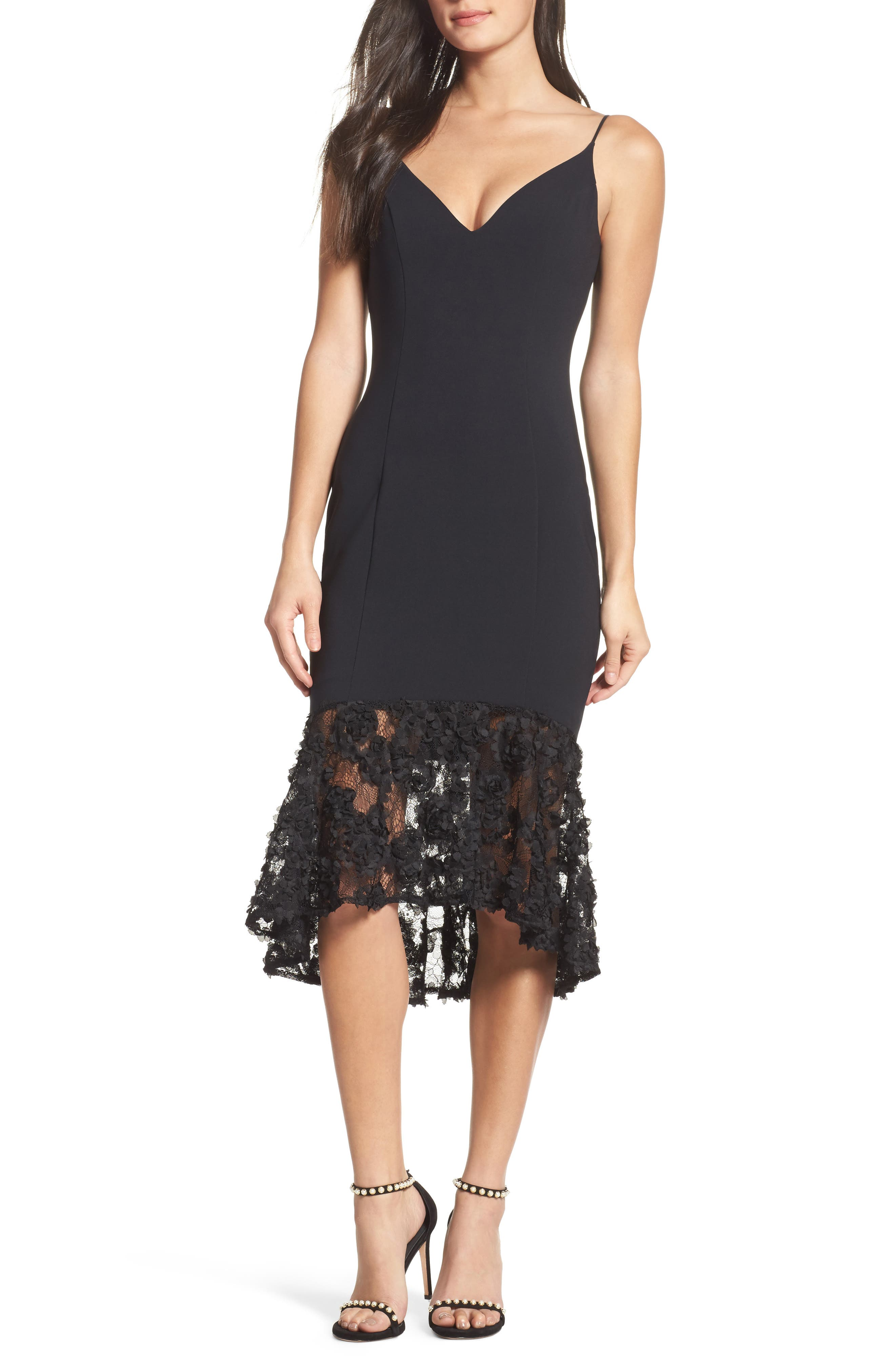 Milly Lace Flounce Slipdress,                             Main thumbnail 1, color,                             001