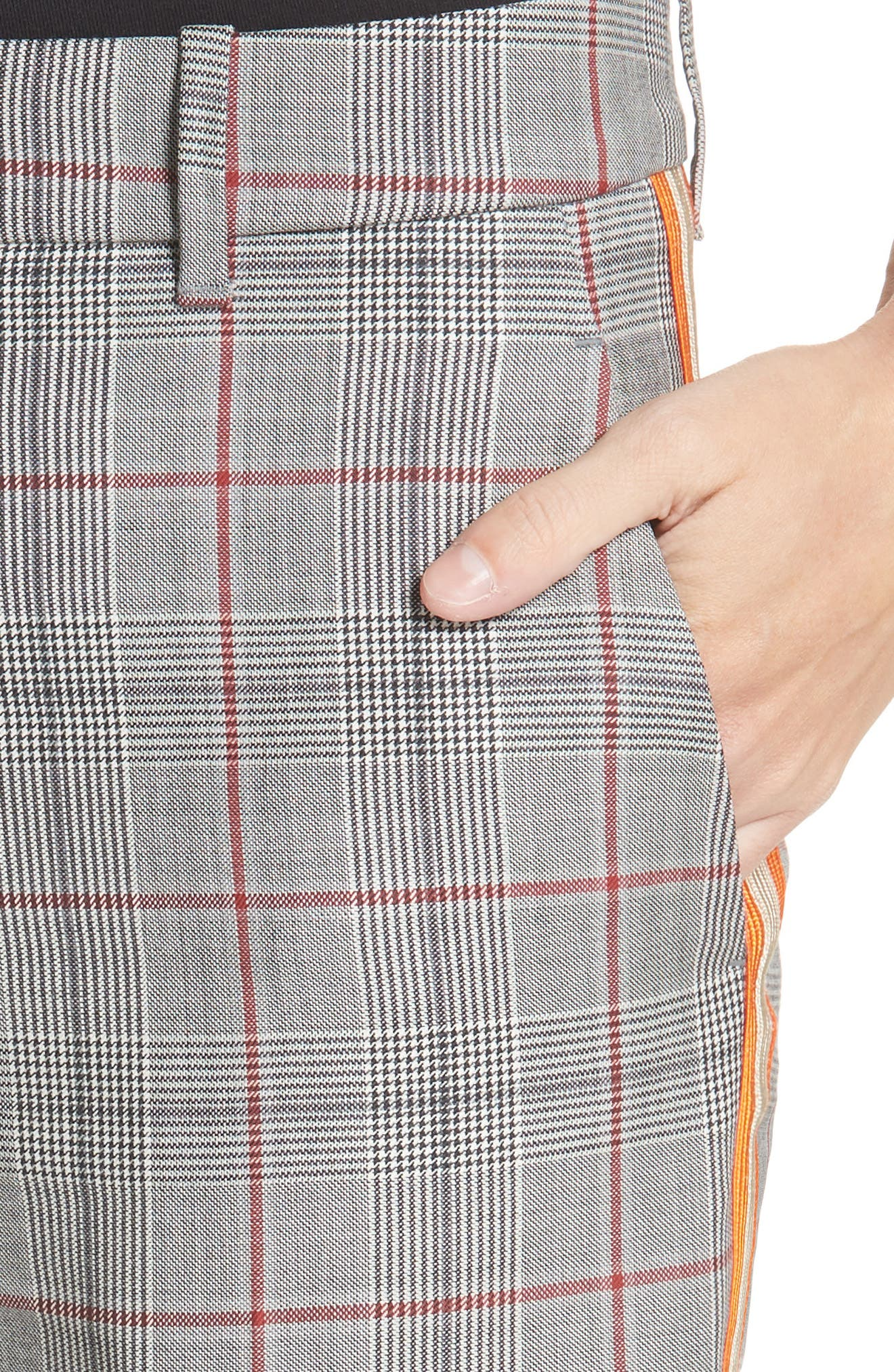 Side Stripe Plaid Wool Pants,                             Alternate thumbnail 4, color,                             BLACK WHITE GRENADINE