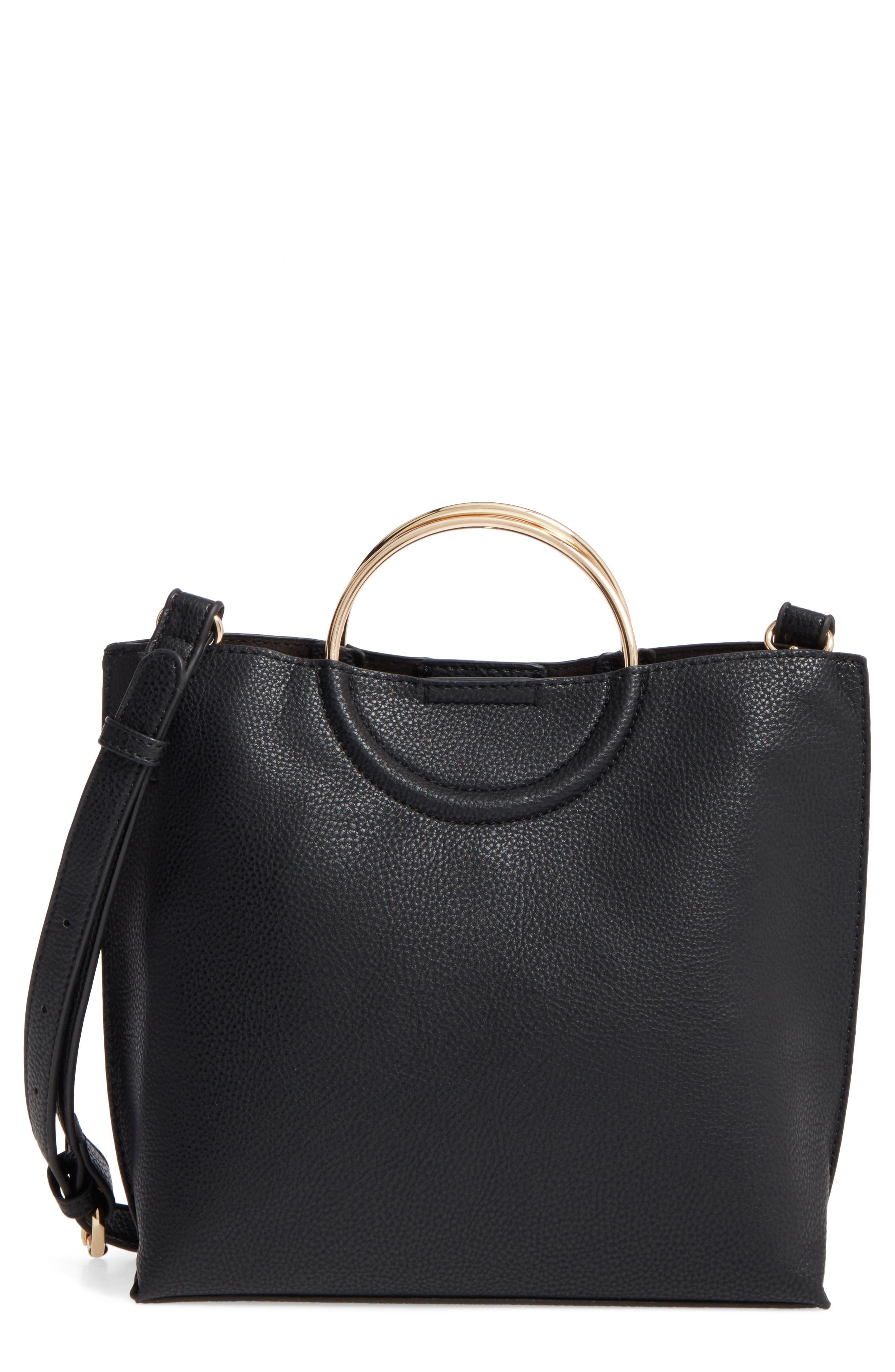 Metal Handle Faux Leather Crossbody Bag,                             Main thumbnail 2, color,