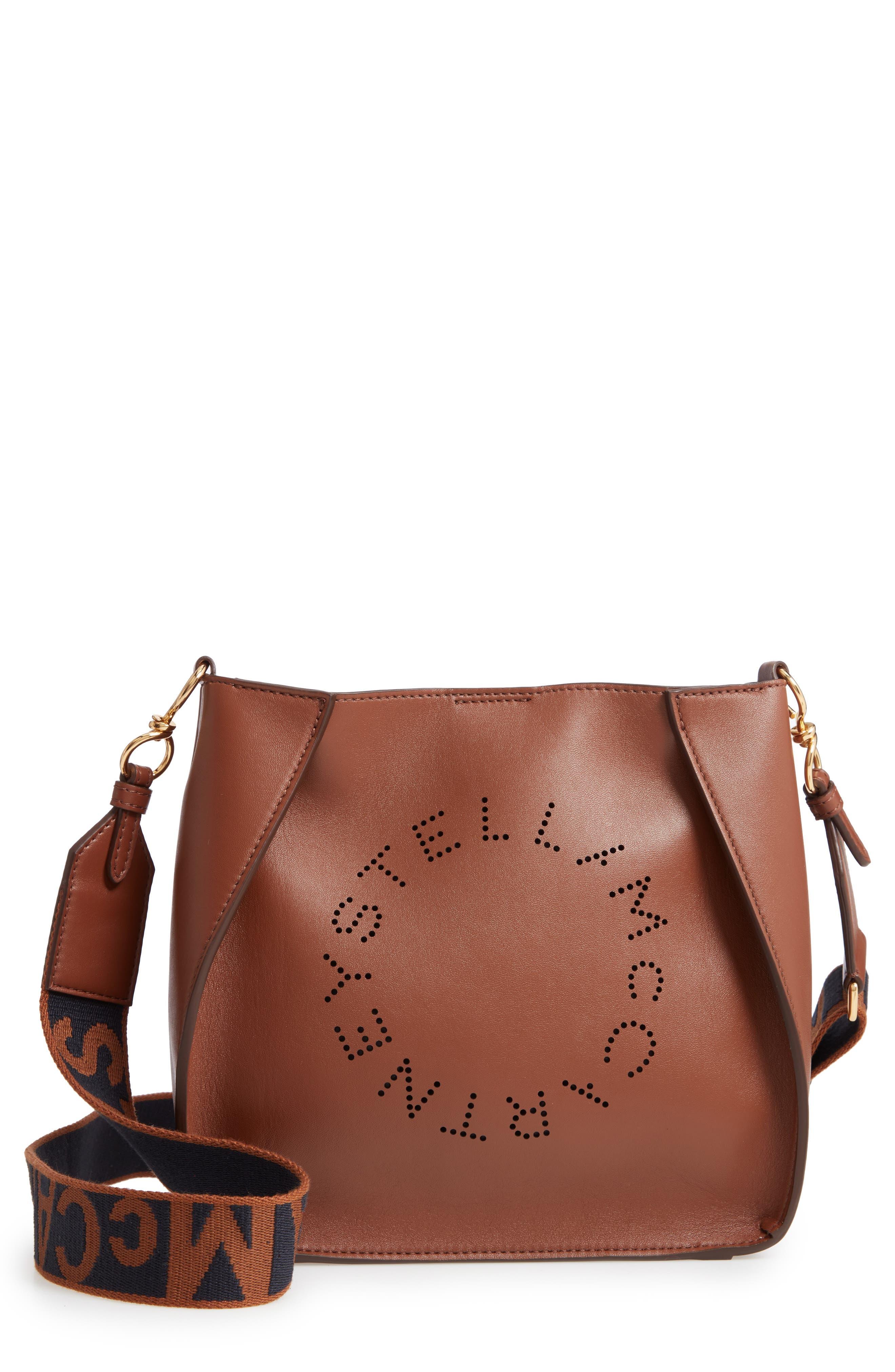 Perforated Logo Faux Leather Crossbody Bag,                             Main thumbnail 1, color,                             CINNAMON