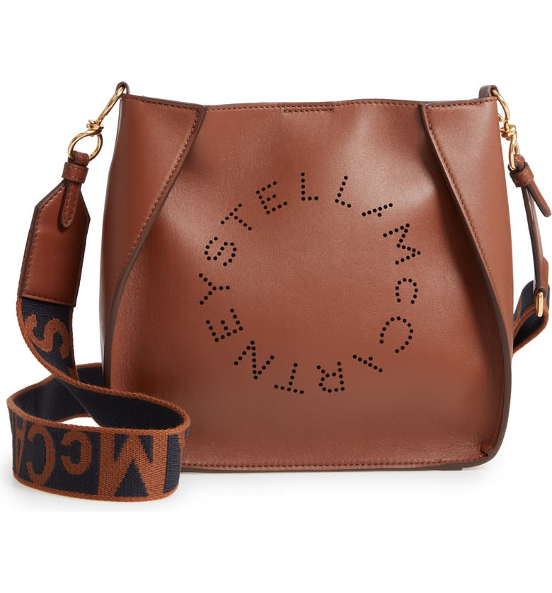 767004da38d3 Stella Mccartney Perforated Logo Faux Leather Crossbody Bag In Cinnamon