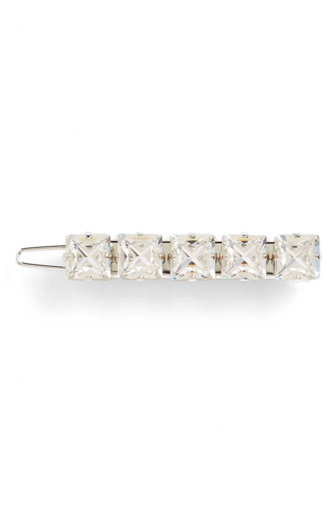 'Square Jewel' Swarovski Crystal Tige Boule Barrette,                             Main thumbnail 1, color,                             040