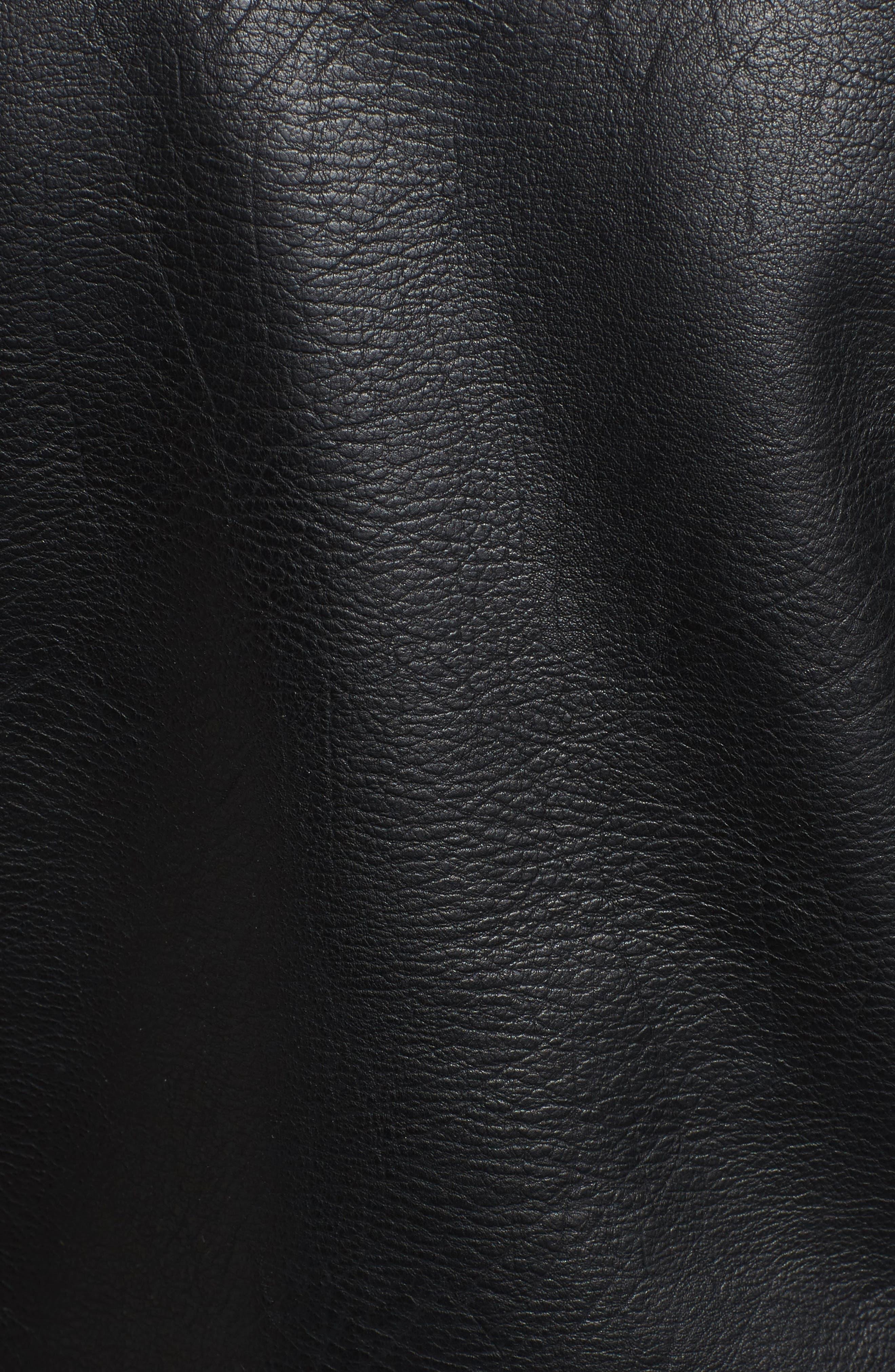 Faux Leather Tassel Moto Jacket,                             Alternate thumbnail 6, color,                             001