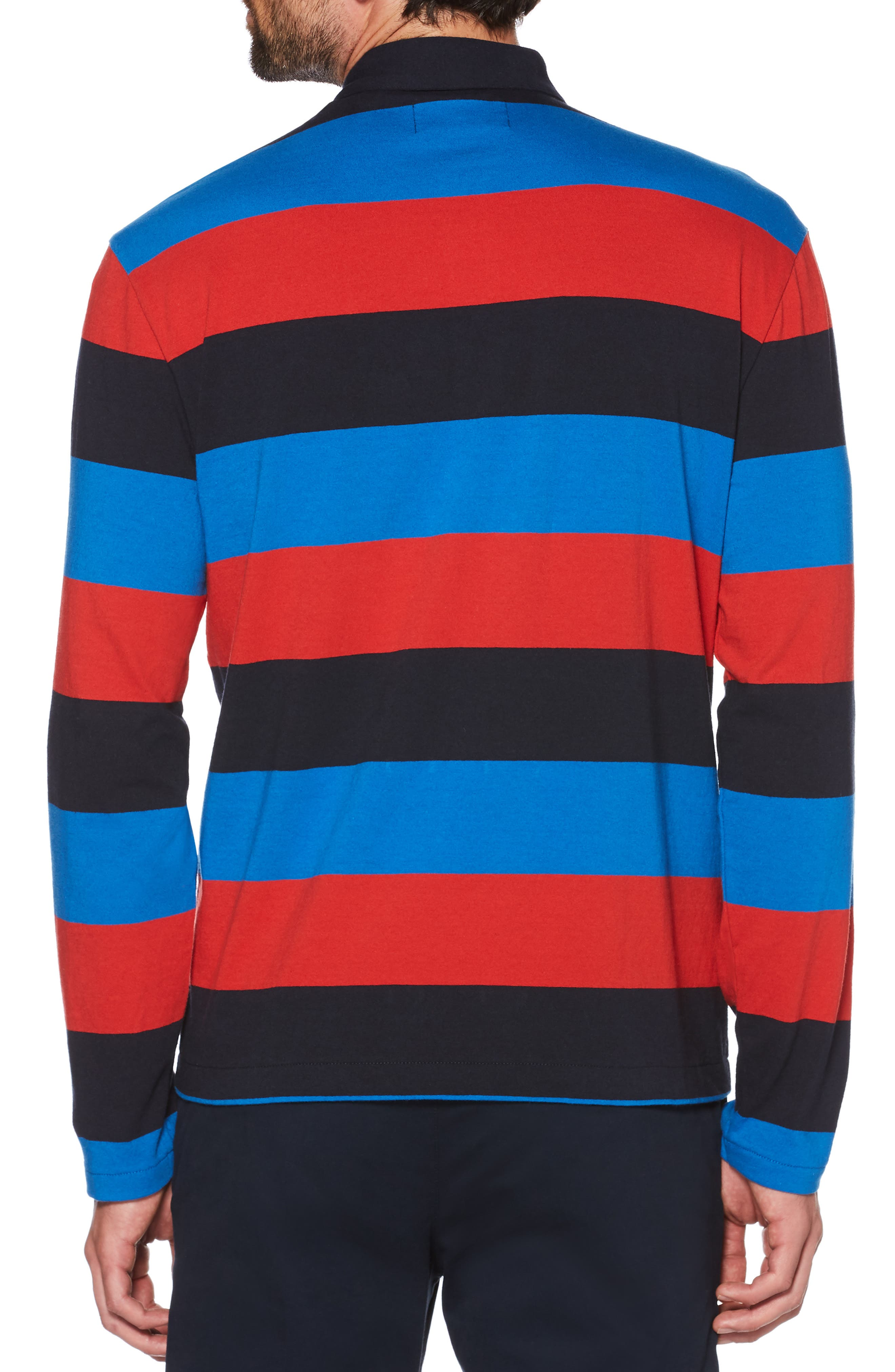 Rugby Stripe Long Sleeve Polo,                             Alternate thumbnail 2, color,                             DARK SAPPHIRE
