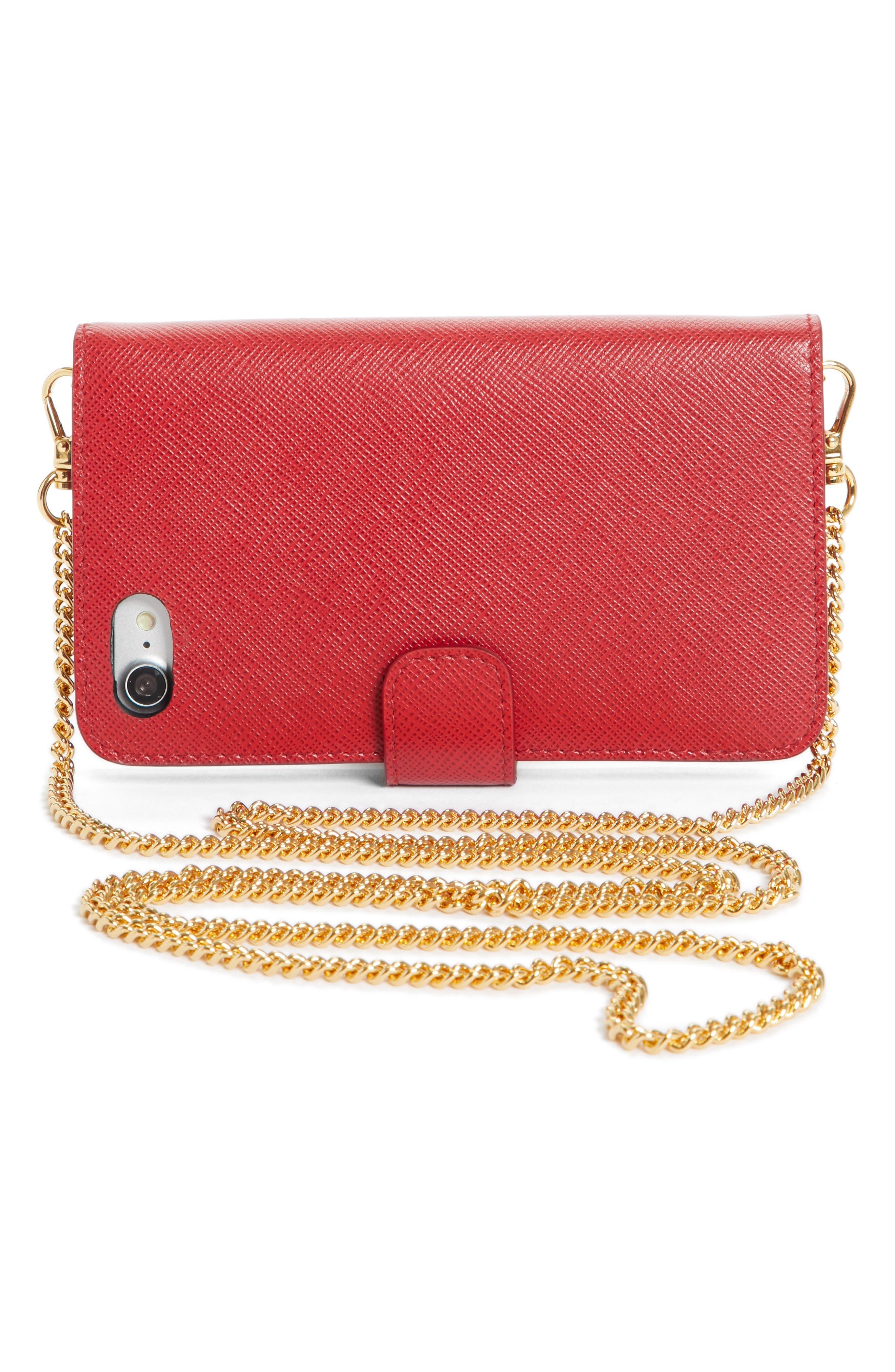 Saffiano Metal Oro Chain Book Phone Wallet,                             Alternate thumbnail 13, color,