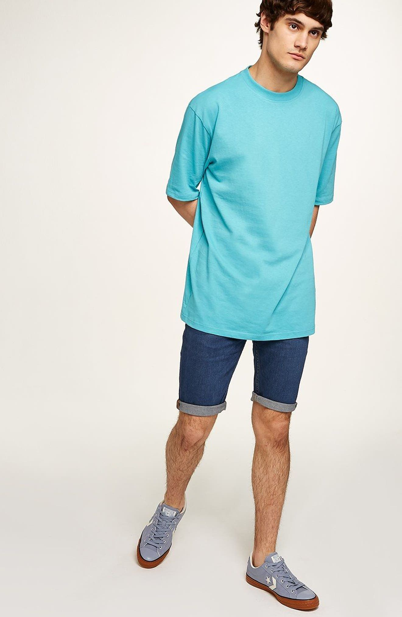 Skinny Fit Denim Shorts,                             Alternate thumbnail 5, color,                             BLUE