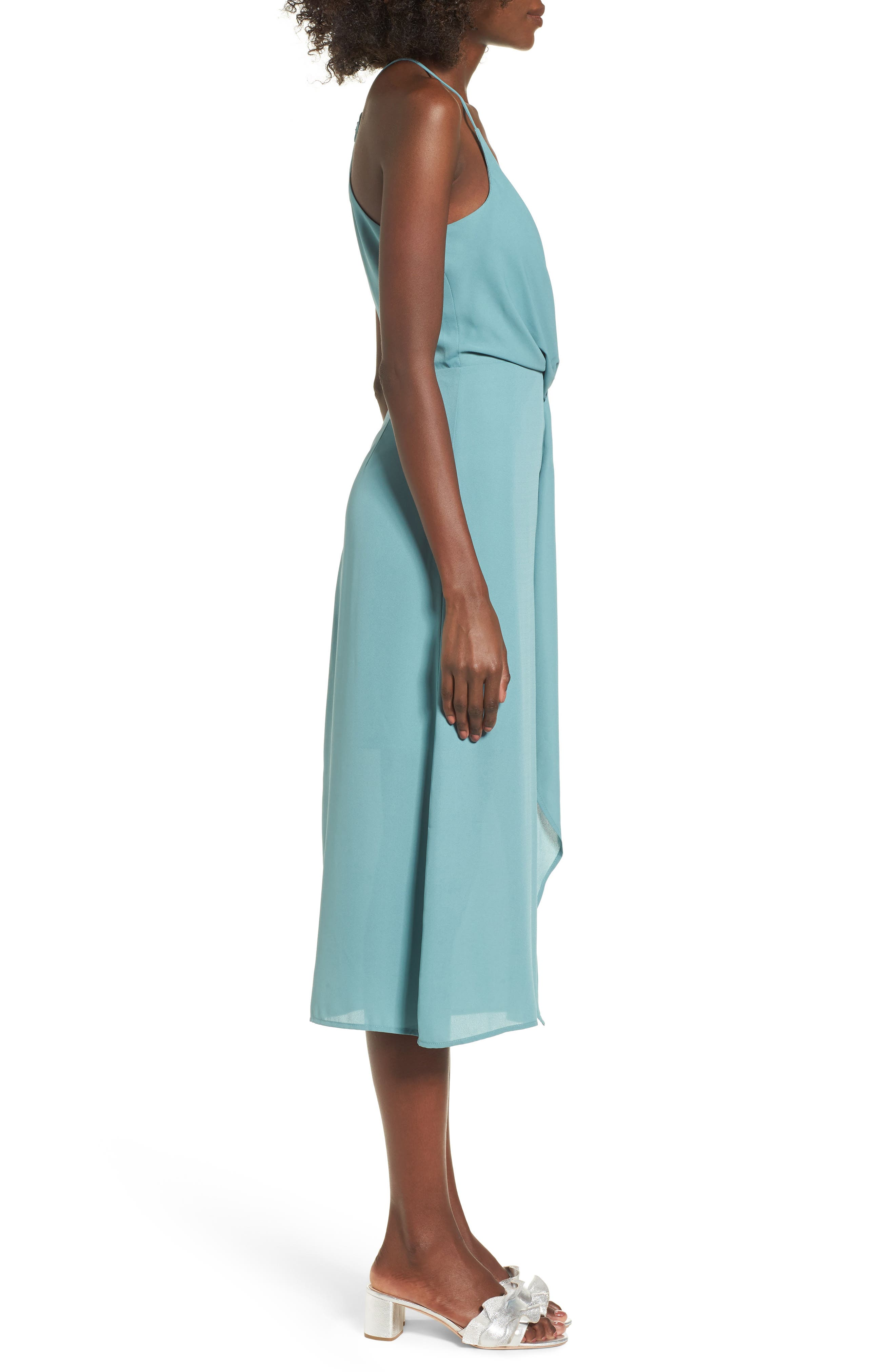 Knotted Waist Midi Dress,                             Alternate thumbnail 3, color,                             300