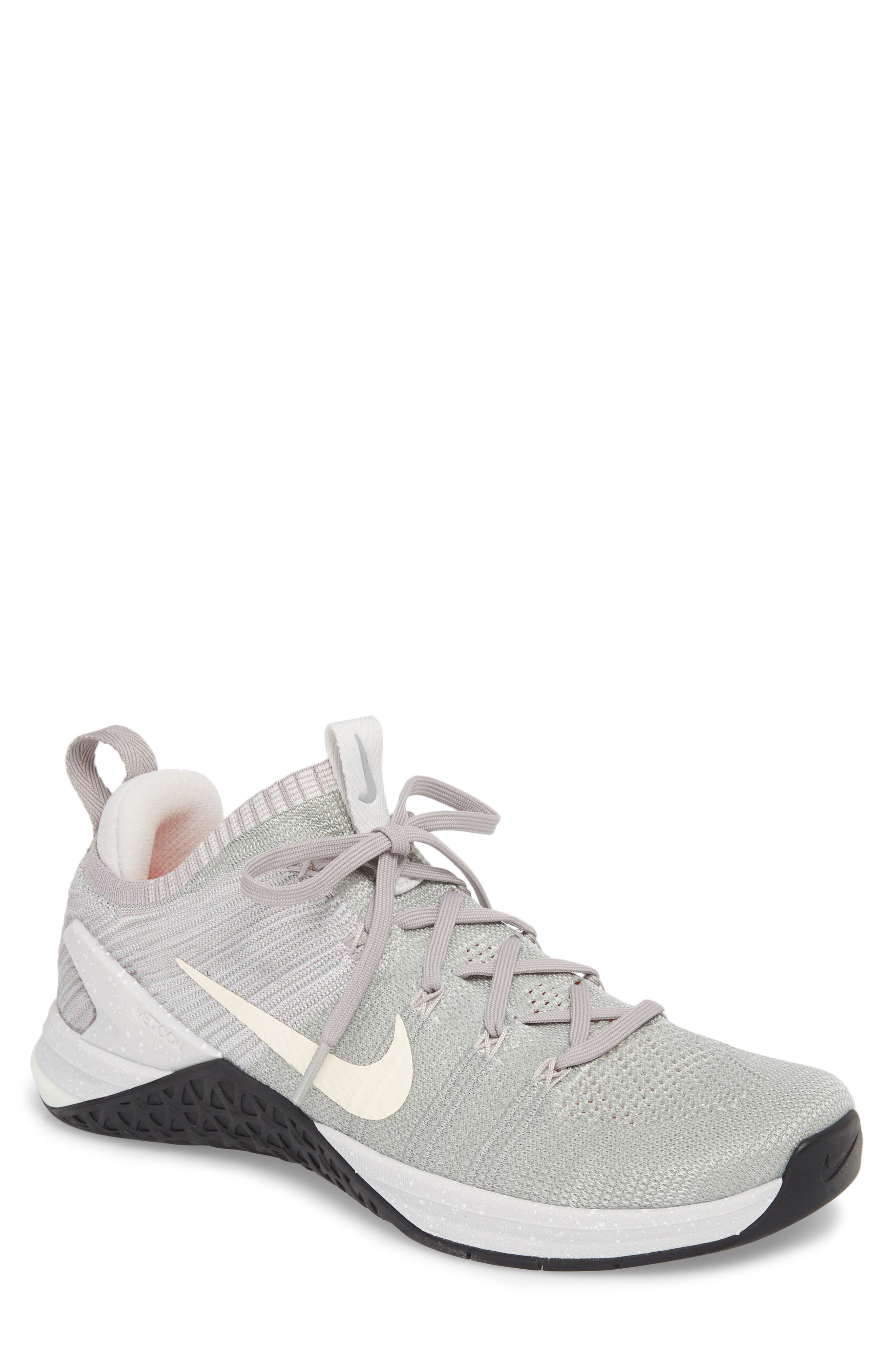 Metcon DSX Flyknit 2 Training Shoe,                         Main,                         color, MATTE SILVER/ SAIL/ GREY