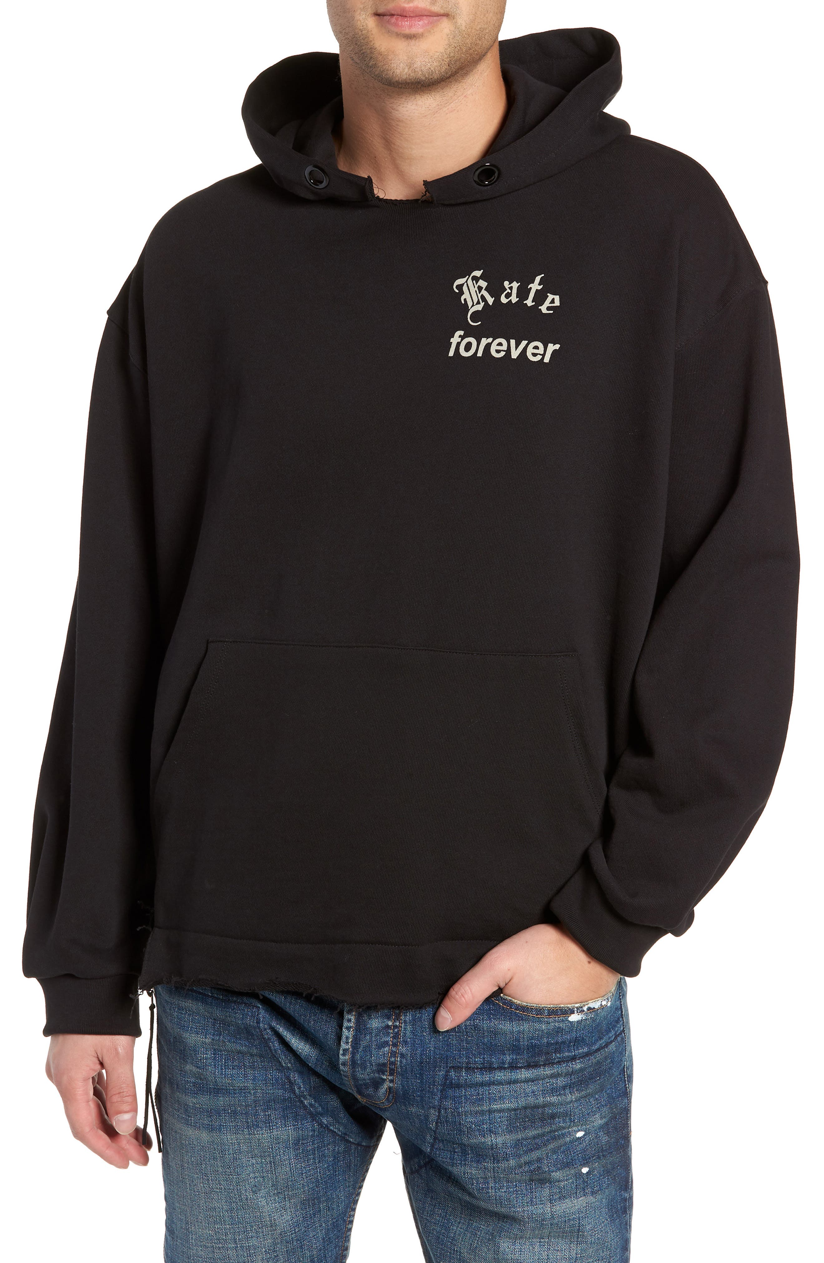 Kate Forever Oversize Hoodie,                         Main,                         color, BLACK / LEFT