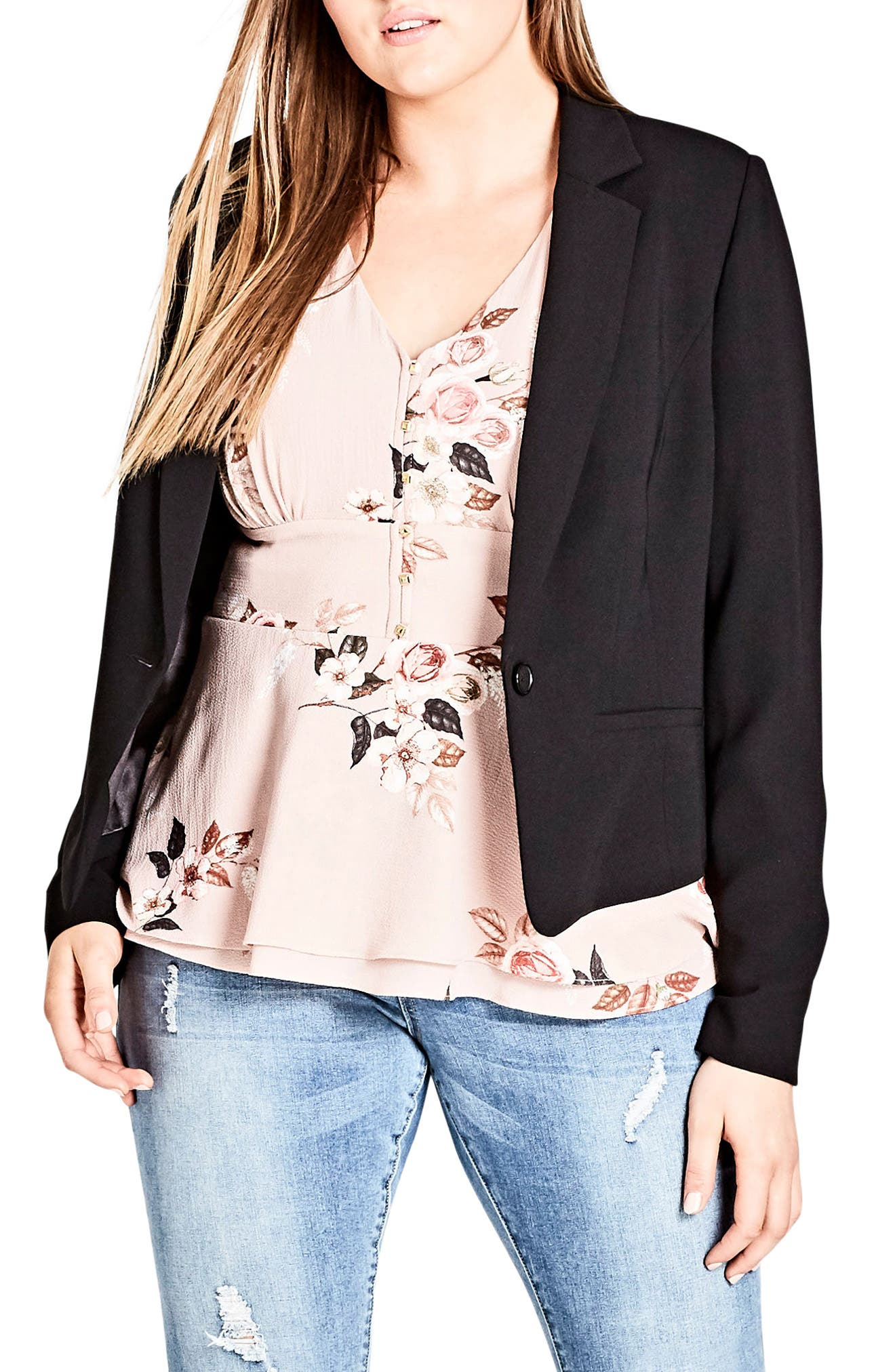 Flutter Lace Back Blazer,                             Main thumbnail 1, color,                             BLACK