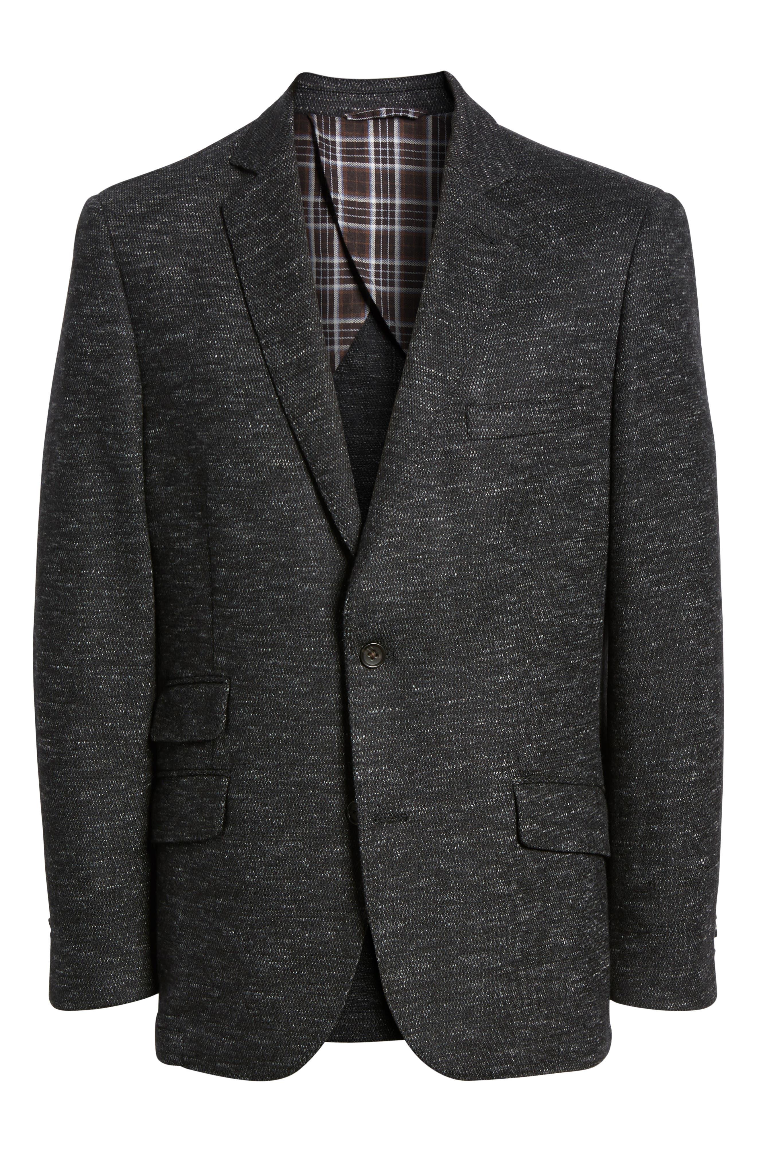 Regular Fit Knit Wool Blend Sport Coat,                             Alternate thumbnail 5, color,                             CHARCOAL