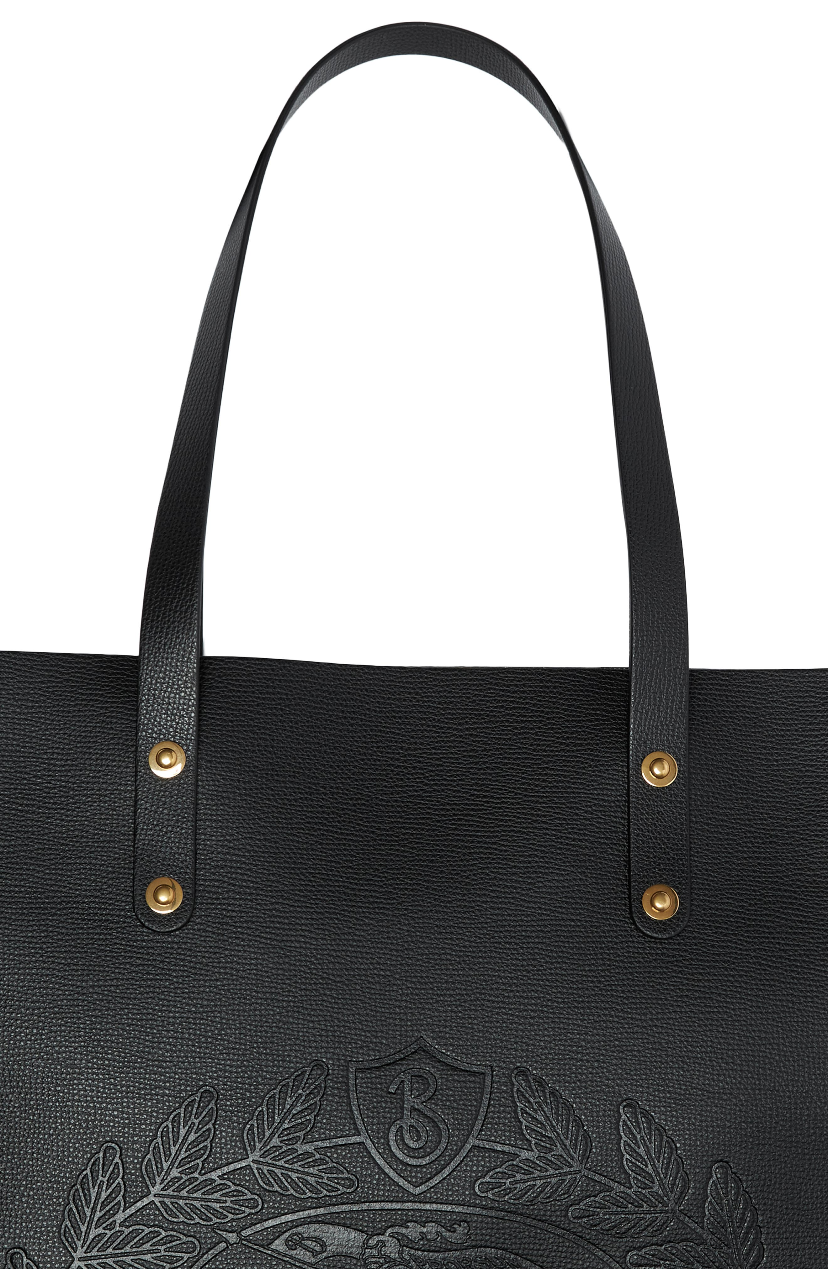 Embossed Crest Large Leather Tote,                             Alternate thumbnail 5, color,                             BLACK