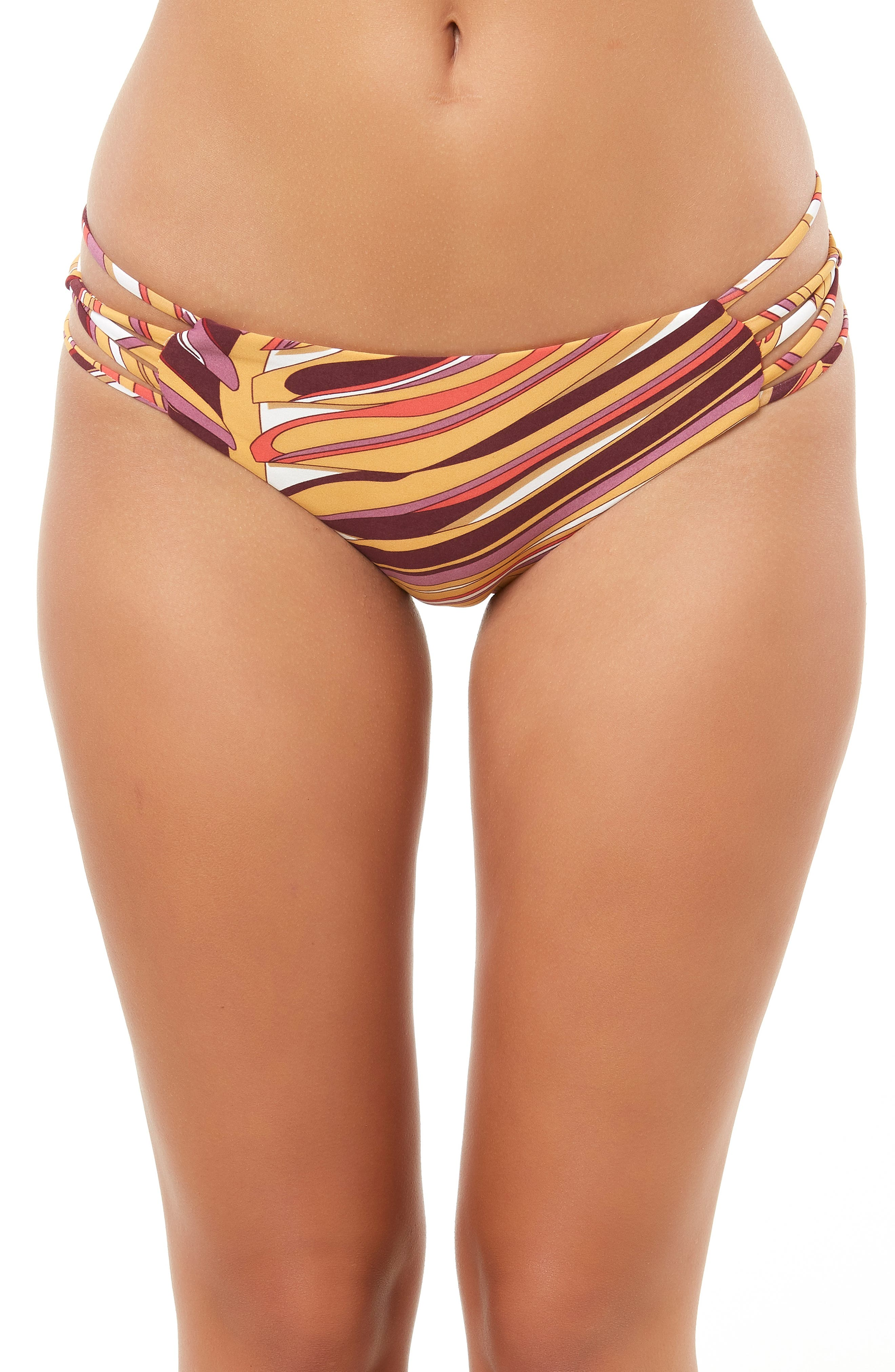 Anacapa Strappy Hipster Bikini Bottoms,                             Alternate thumbnail 3, color,                             PURPLE MAUVE