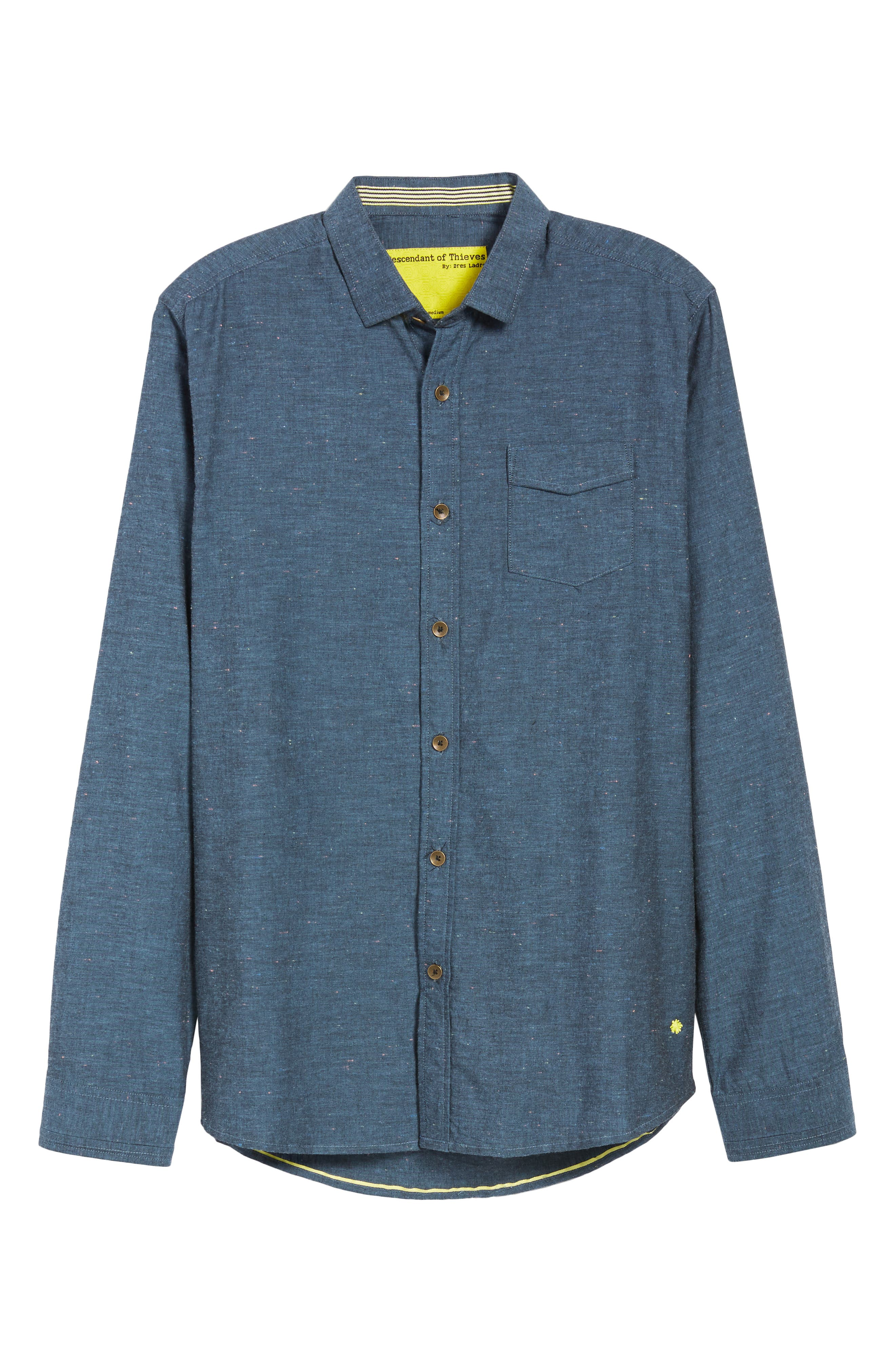 Neppy Chambray Sport Shirt,                             Alternate thumbnail 5, color,                             BLUE/GREY