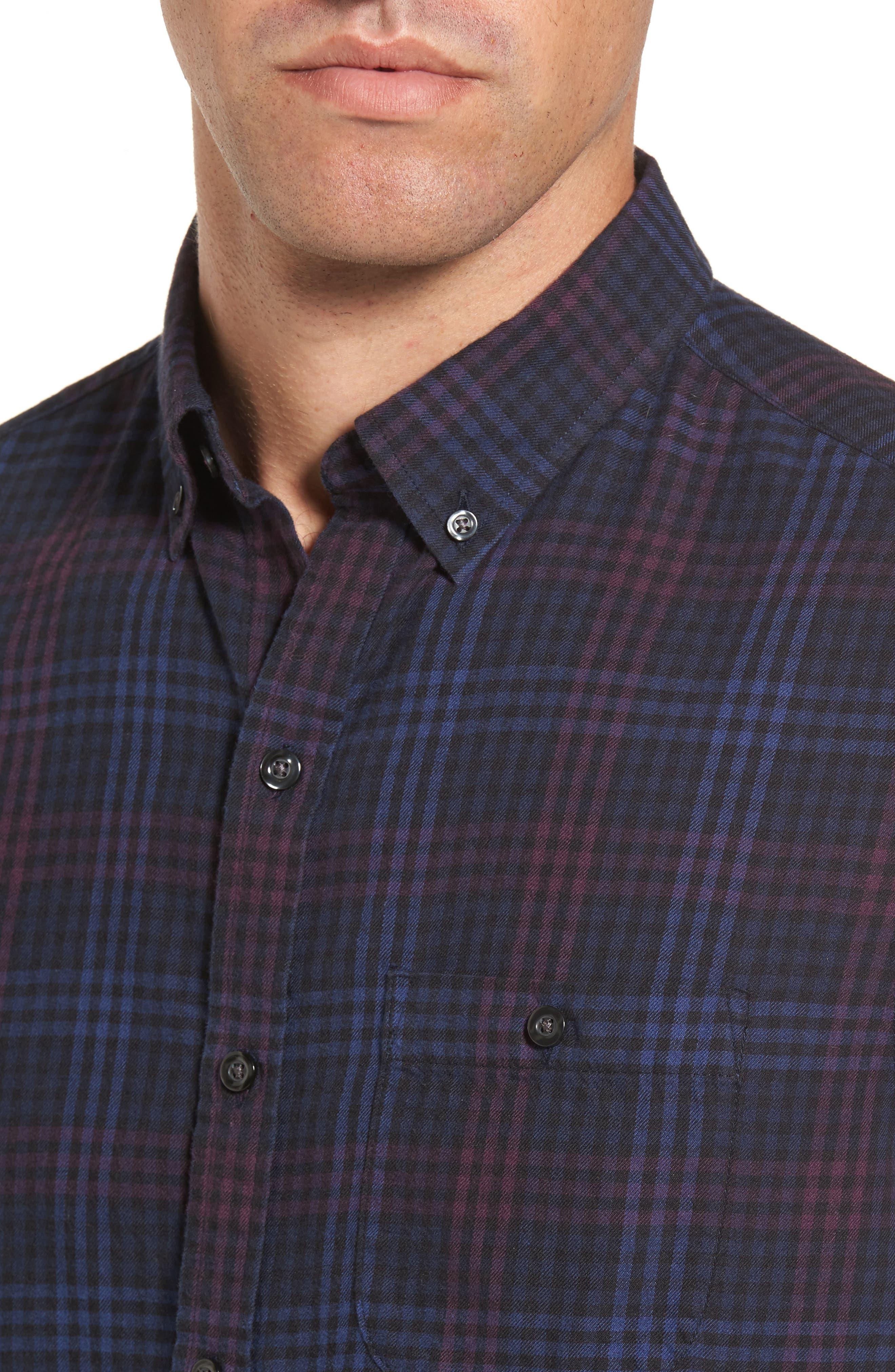 Trim Fit Plaid Flannel Sport Shirt,                             Alternate thumbnail 4, color,                             410