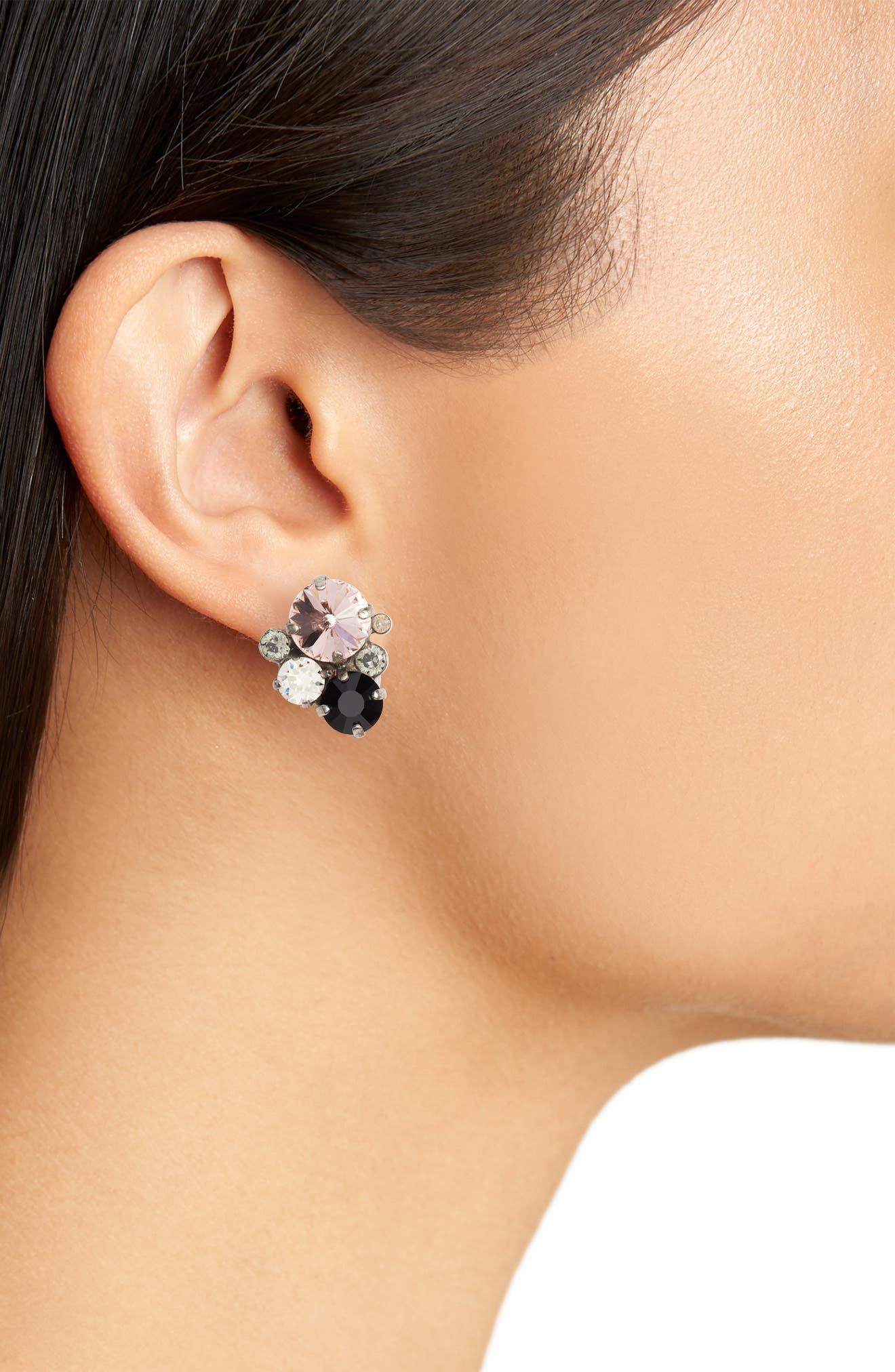Crystal Earrings,                             Alternate thumbnail 2, color,                             PINK/ BLACK