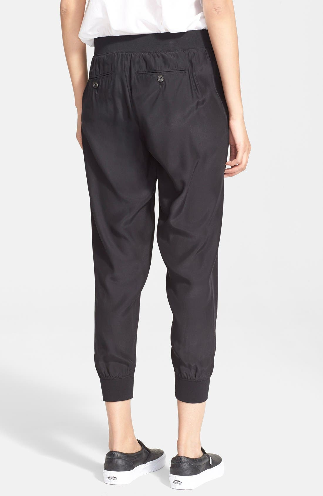Silk Jogger Pants,                             Alternate thumbnail 3, color,                             BLACK