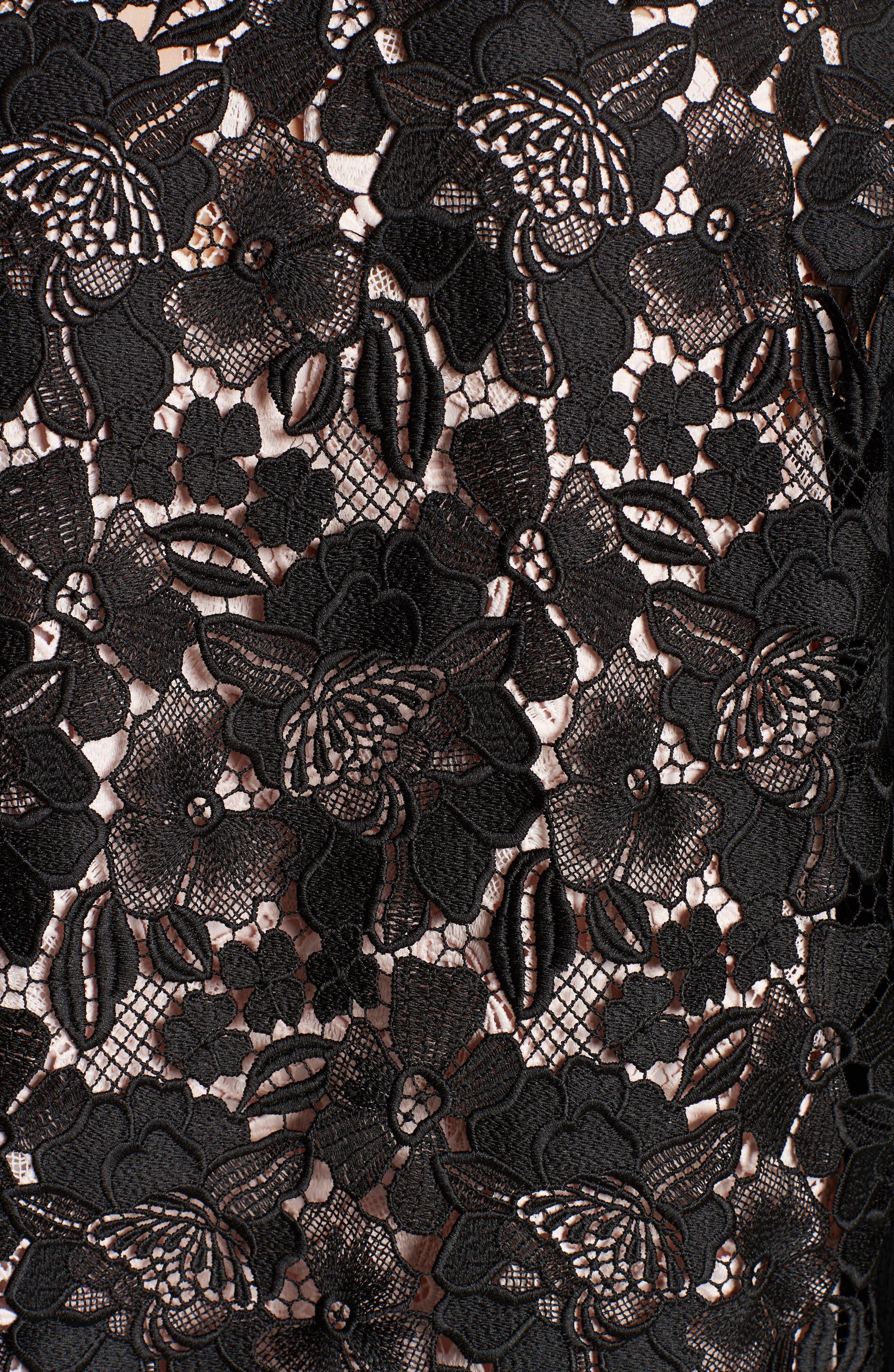 Lace Back Wool Blend Cardigan,                             Alternate thumbnail 5, color,                             001