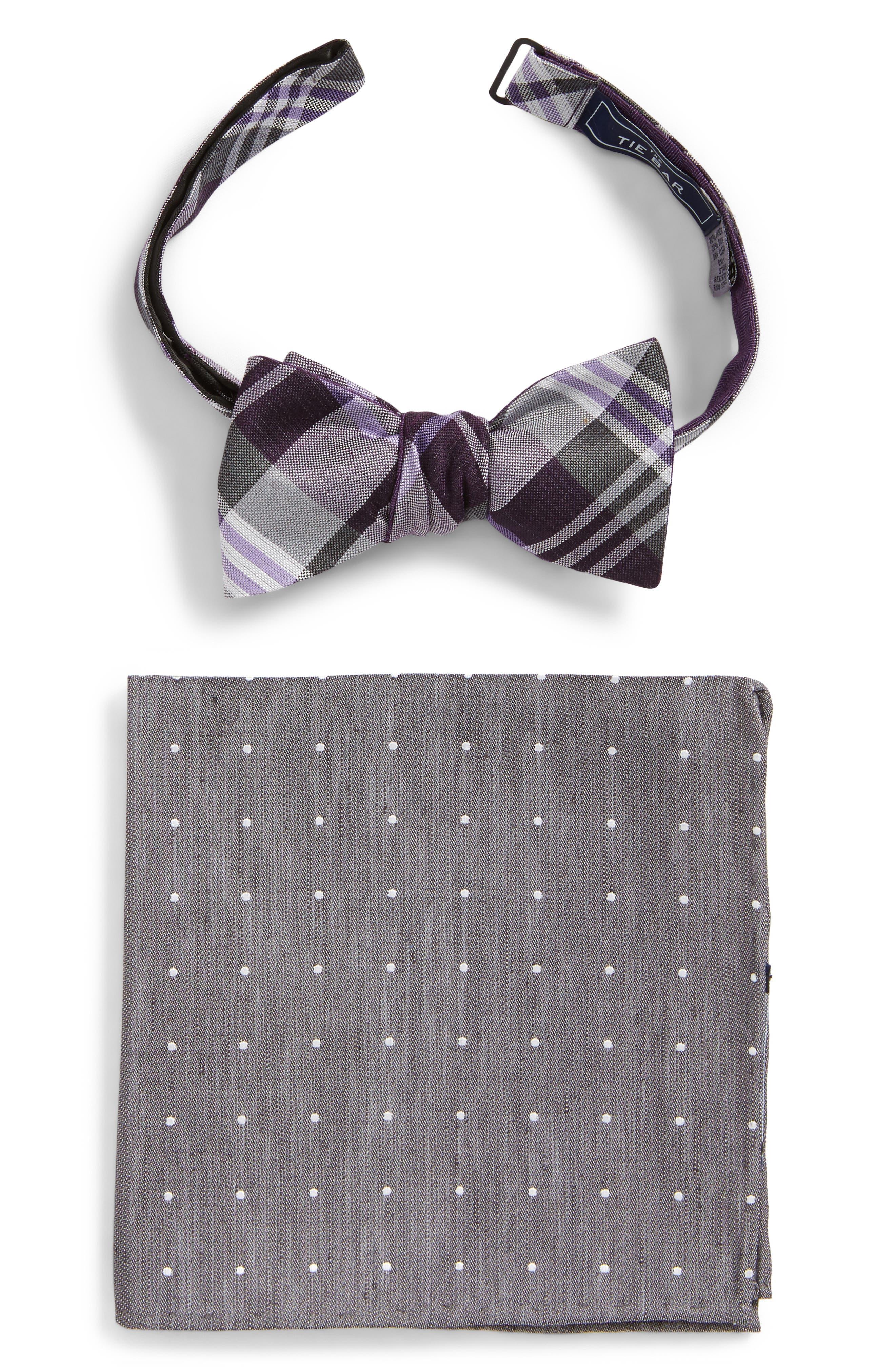 Crystal Wave Bow Tie & Pocket Square Box Set,                         Main,                         color, 501