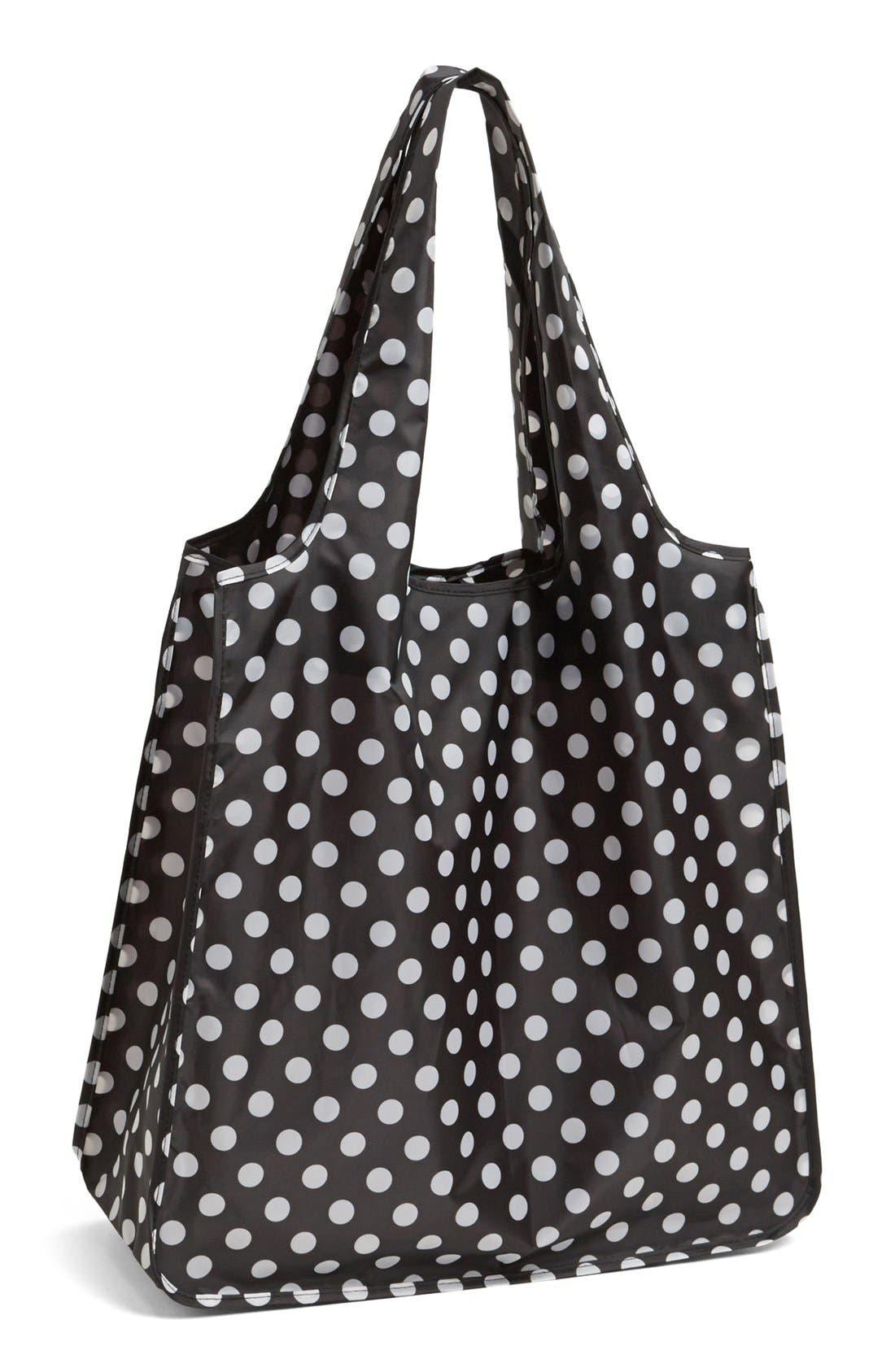 'polka dot' reusable shopping tote,                         Main,                         color, 001