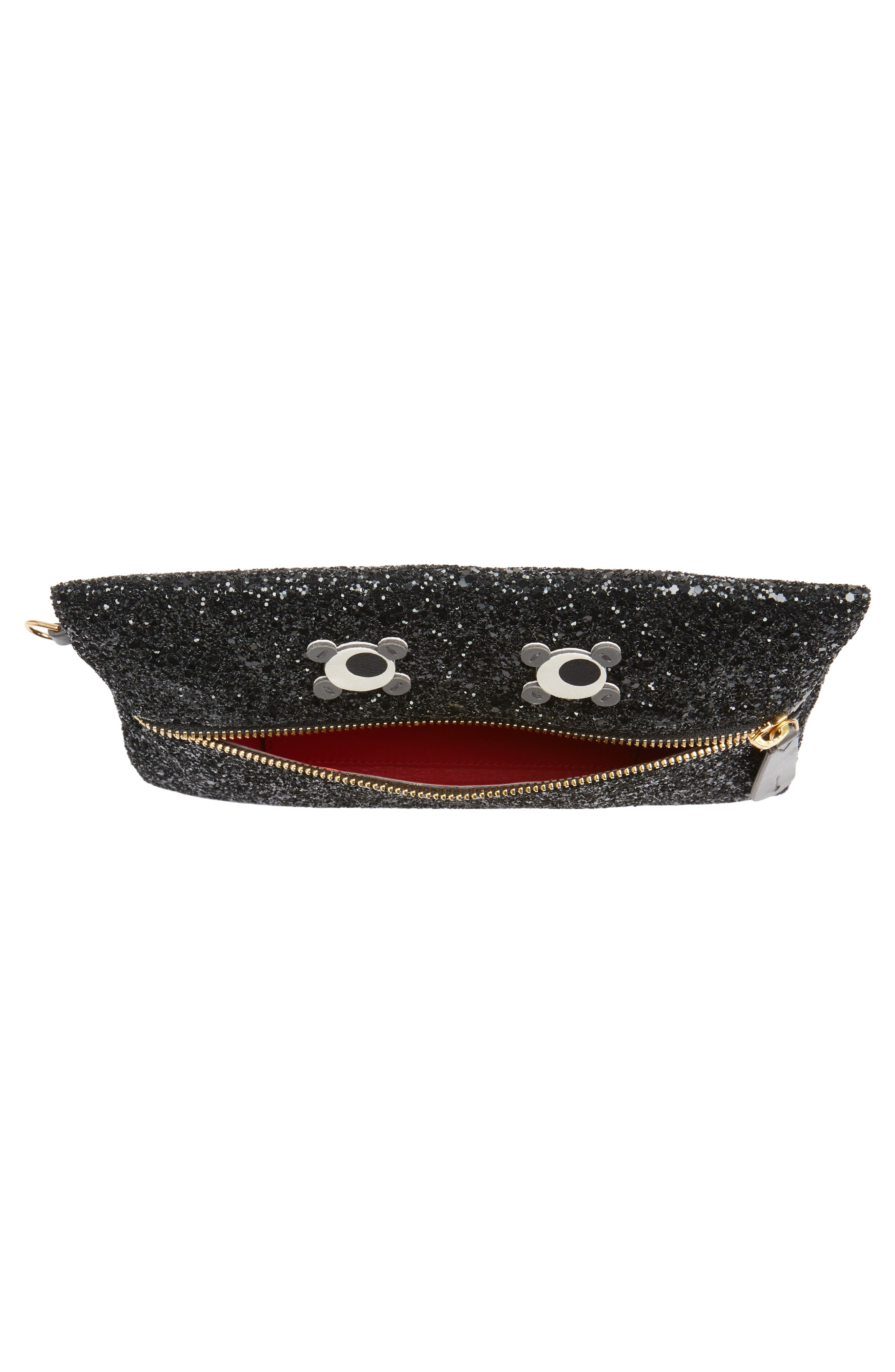 Eyes Circulus Glitter Pouch,                             Alternate thumbnail 4, color,                             001