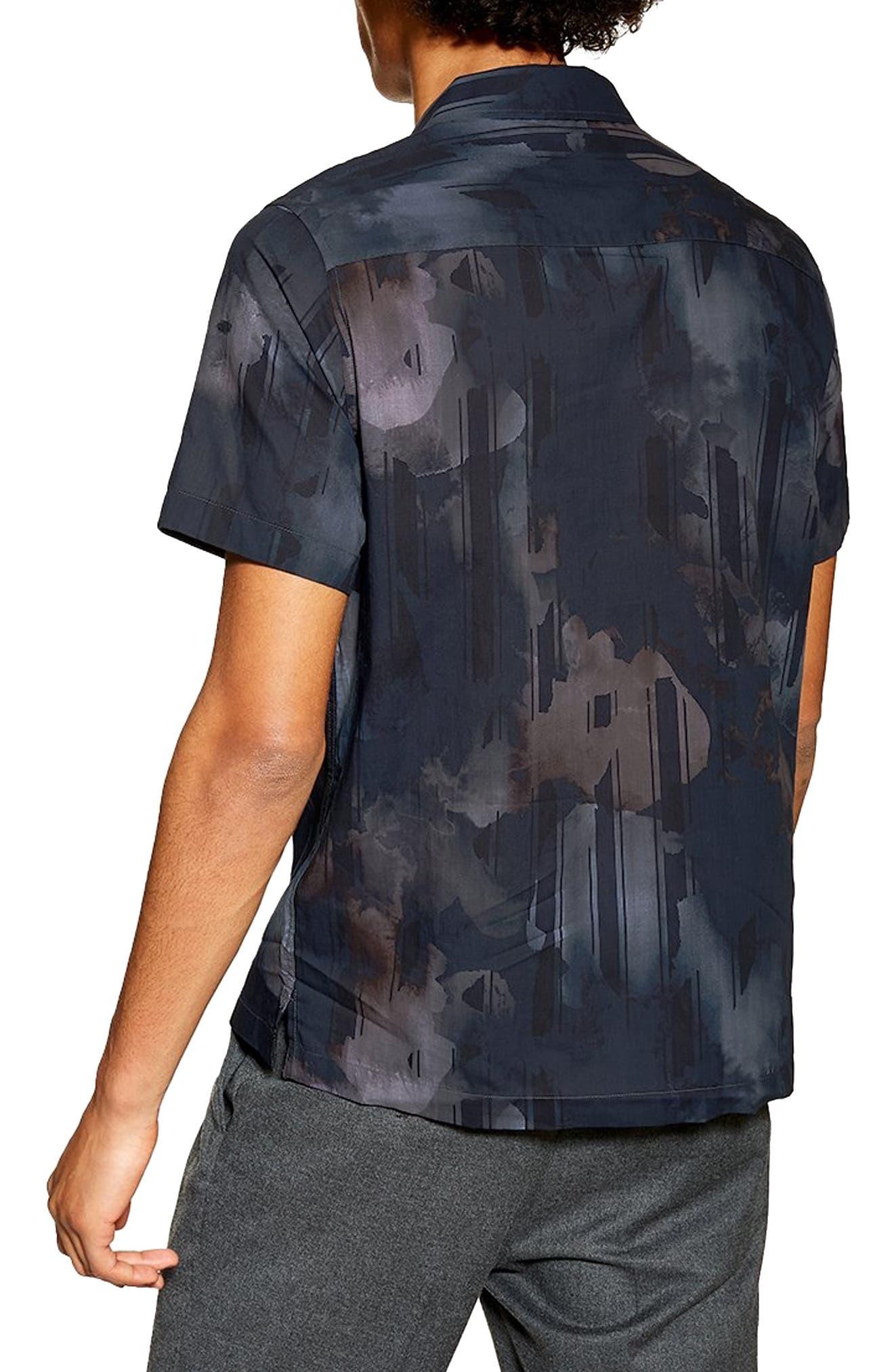 Floral Print Revere Shirt,                             Alternate thumbnail 3, color,                             NAVY MULTI